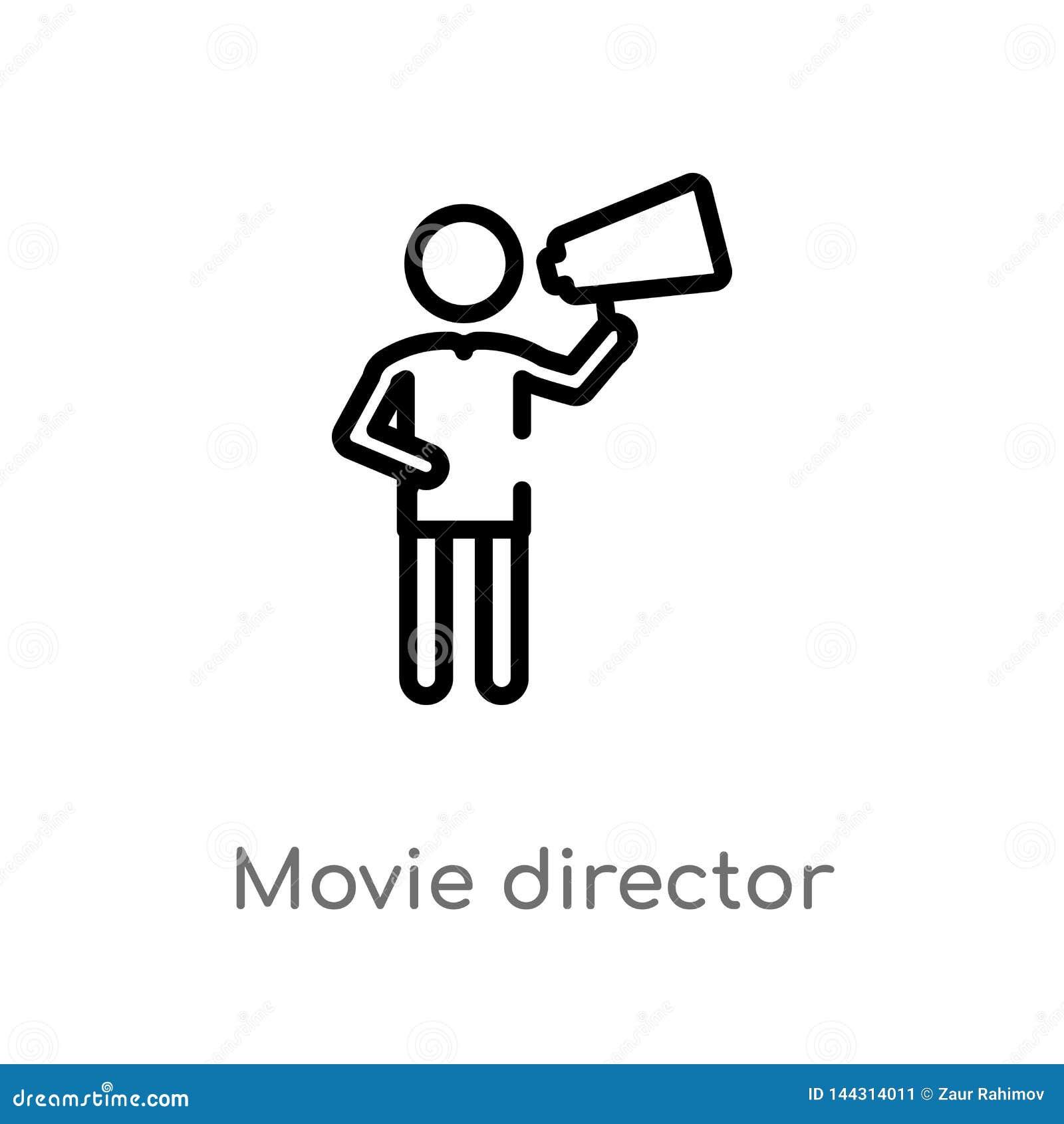 Icono del vector del director de película del esquema línea simple negra aislada ejemplo del elemento del concepto de la gente Mo
