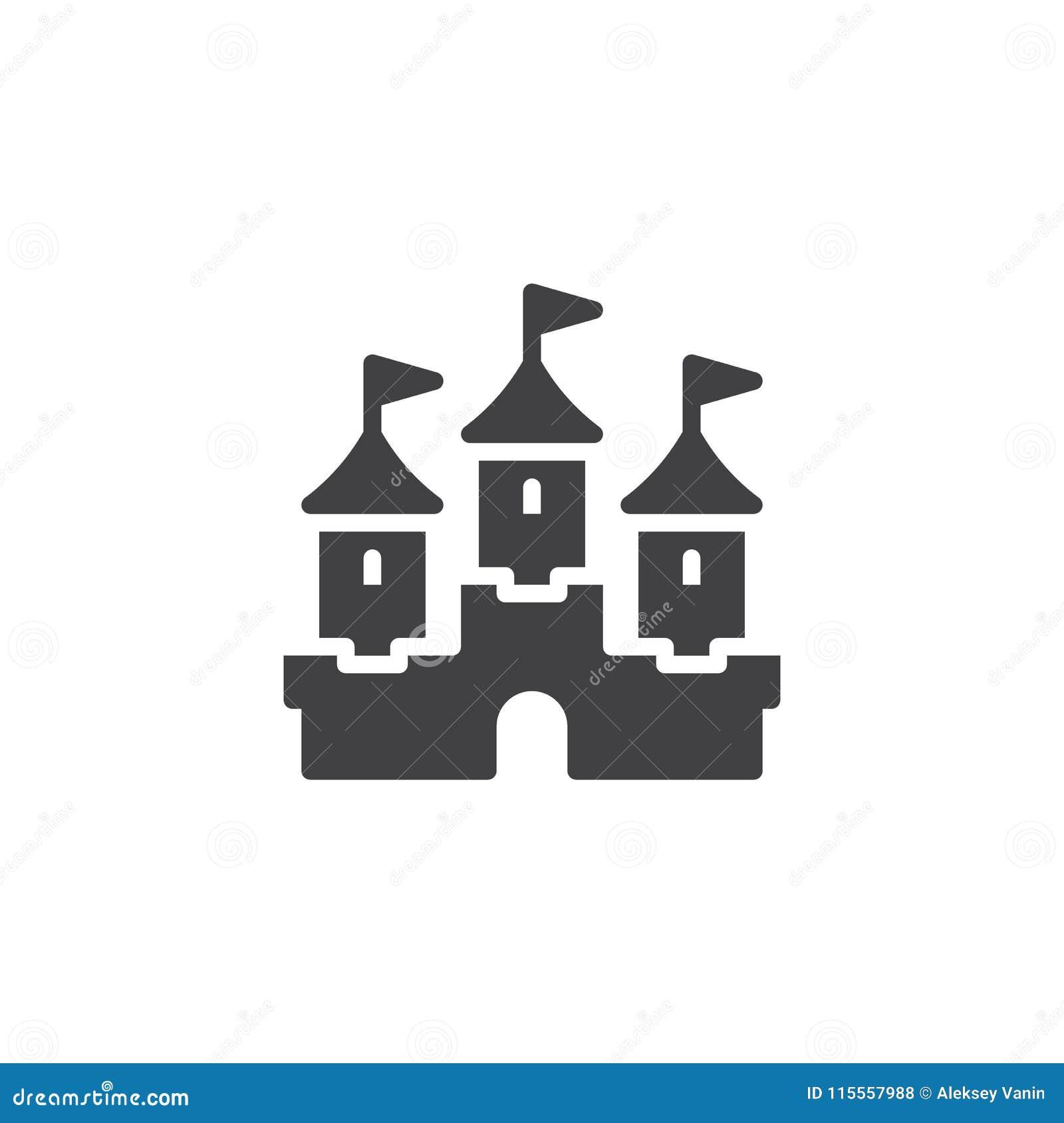 Icono del vector del edificio del castillo