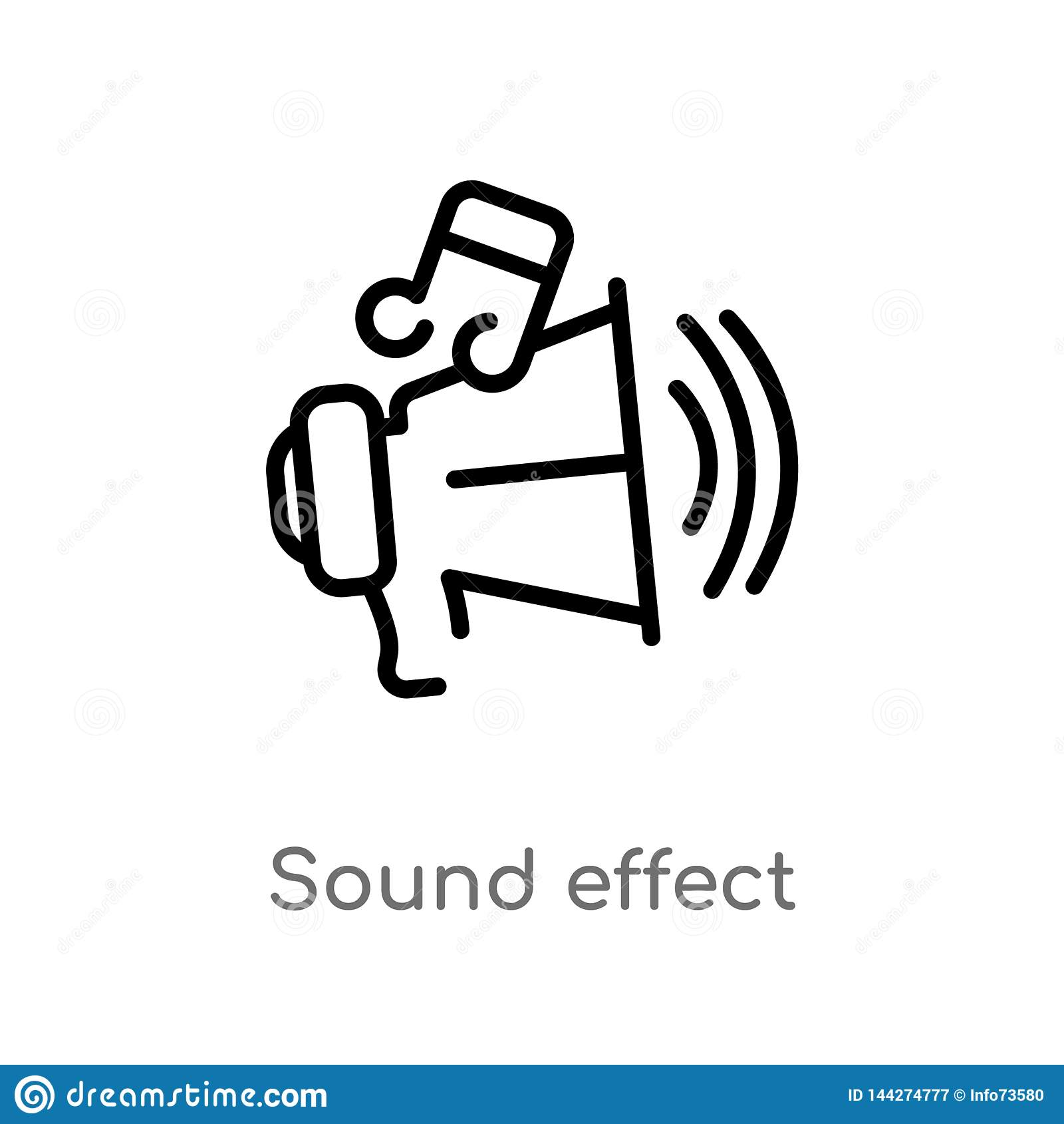 Icono del vector del efecto sonoro del esquema l?nea simple negra aislada ejemplo del elemento del concepto del cine Movimiento E