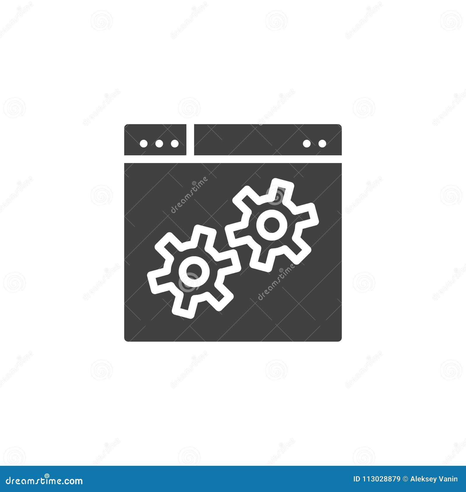 Icono del vector del engranaje del ajuste del explorador Web