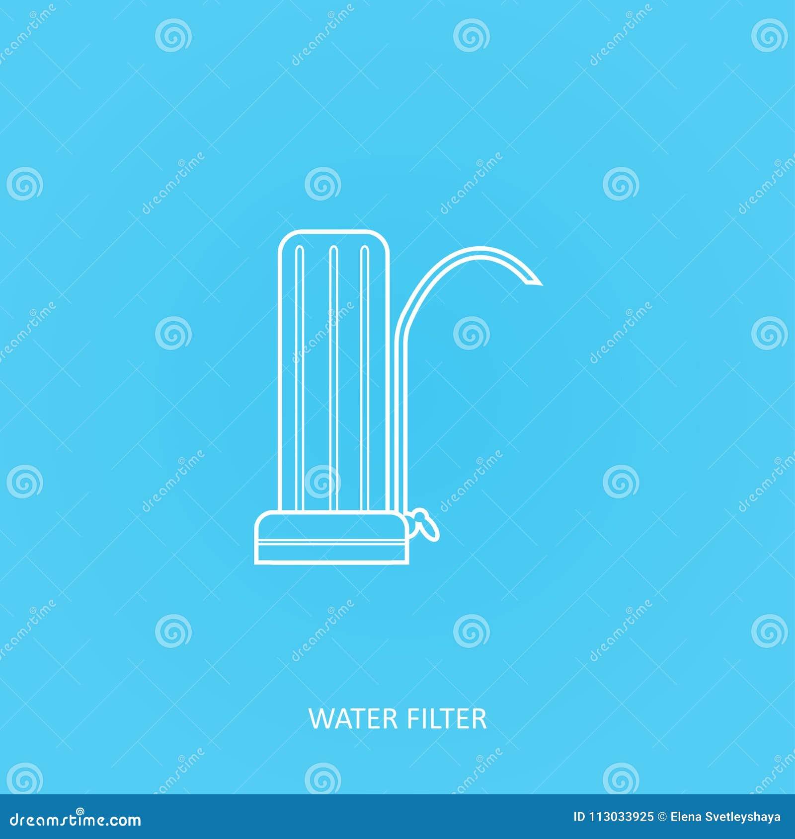 Icono del vector del esquema del filtro de agua Sistema residencial de la purificación del agua Golpecito o filtración casera del