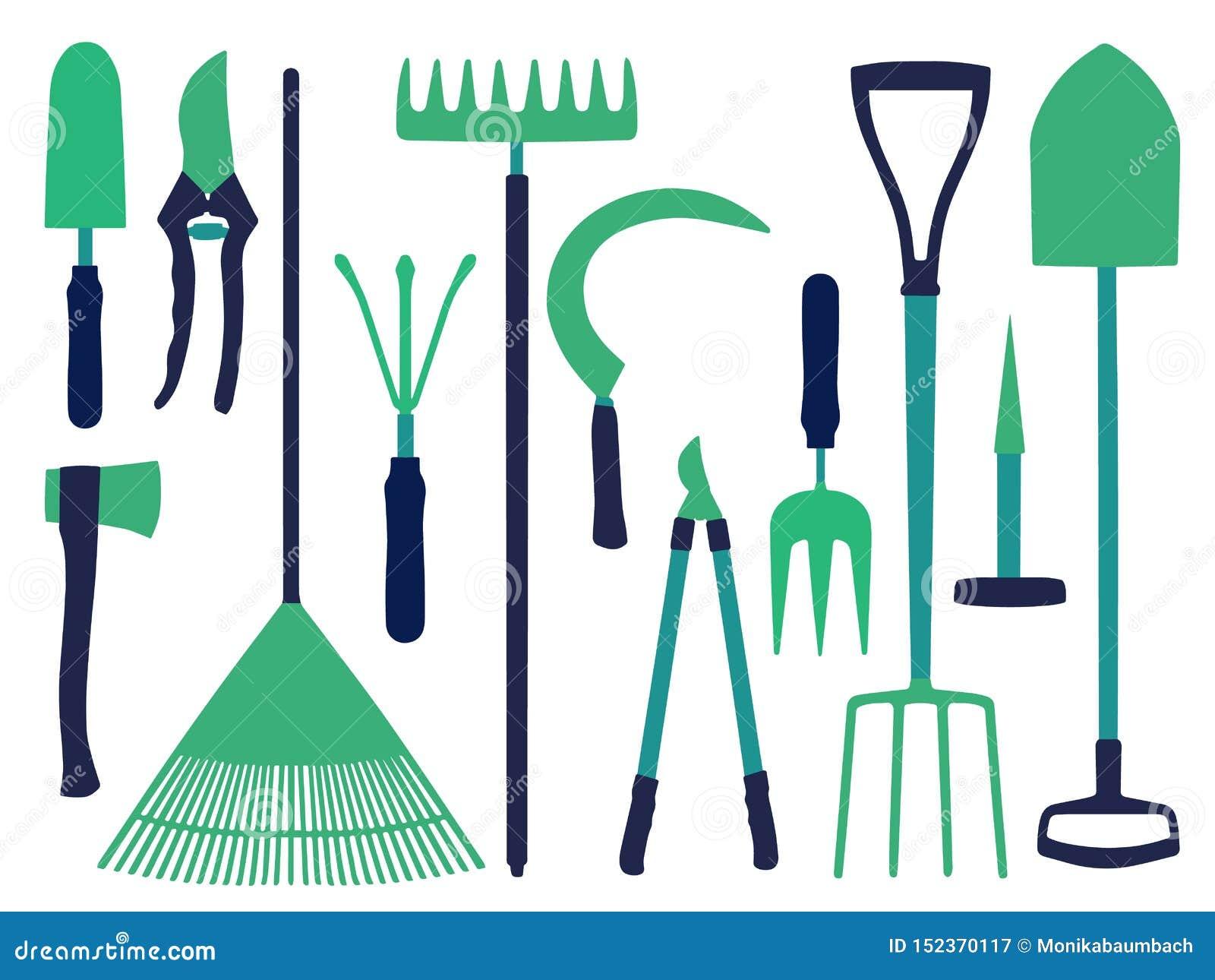 Icono del vector fijado con diversos iconos de las herramientas que cultivan un huerto como la bifurcación de la pala, del hacha,