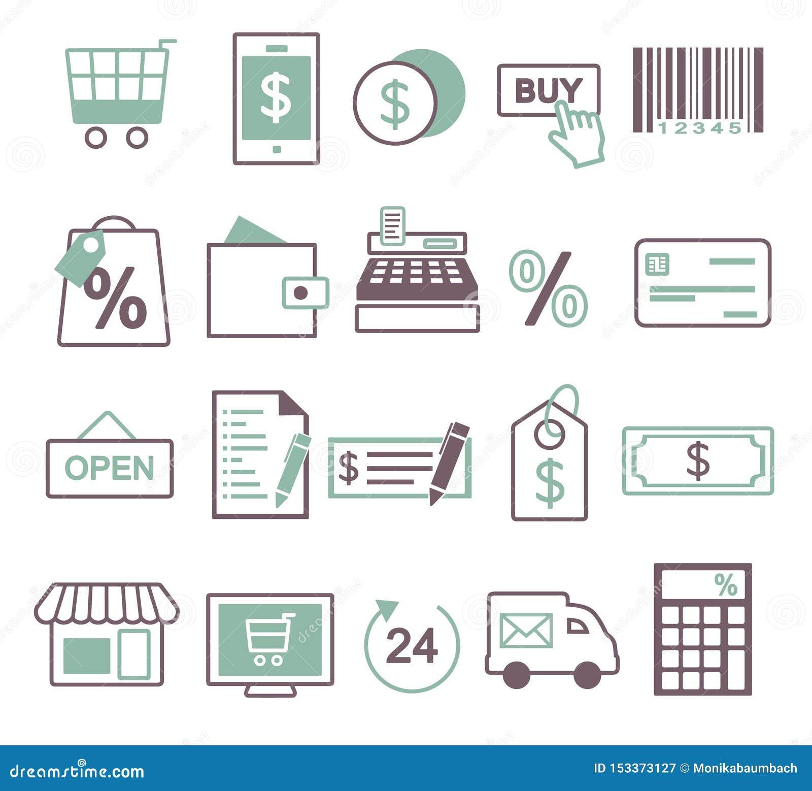 Icono del vector fijado para crear el inforaphics relacionado con las compras, la venta y el comercio en línea, incluyendo el car
