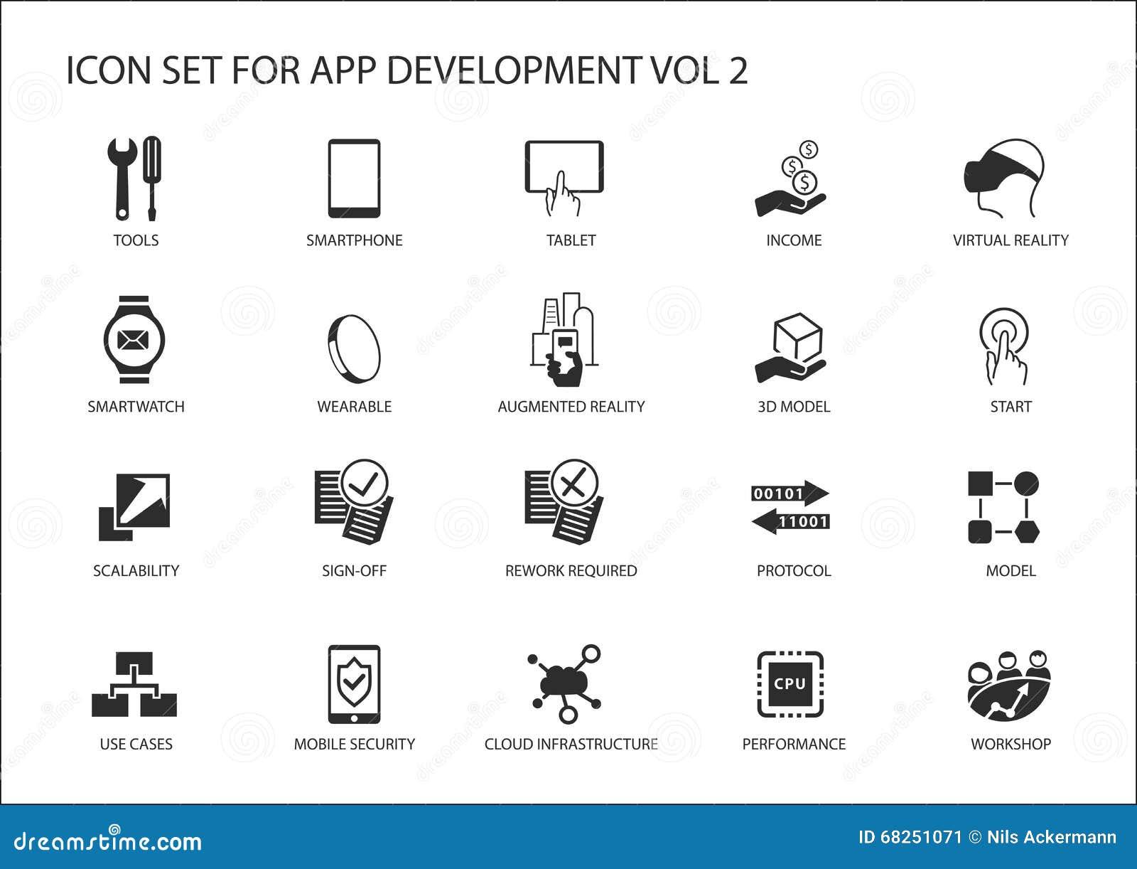 Icono del vector fijado para el app/el desarrollo de aplicaciones Iconos y símbolos reutilizables