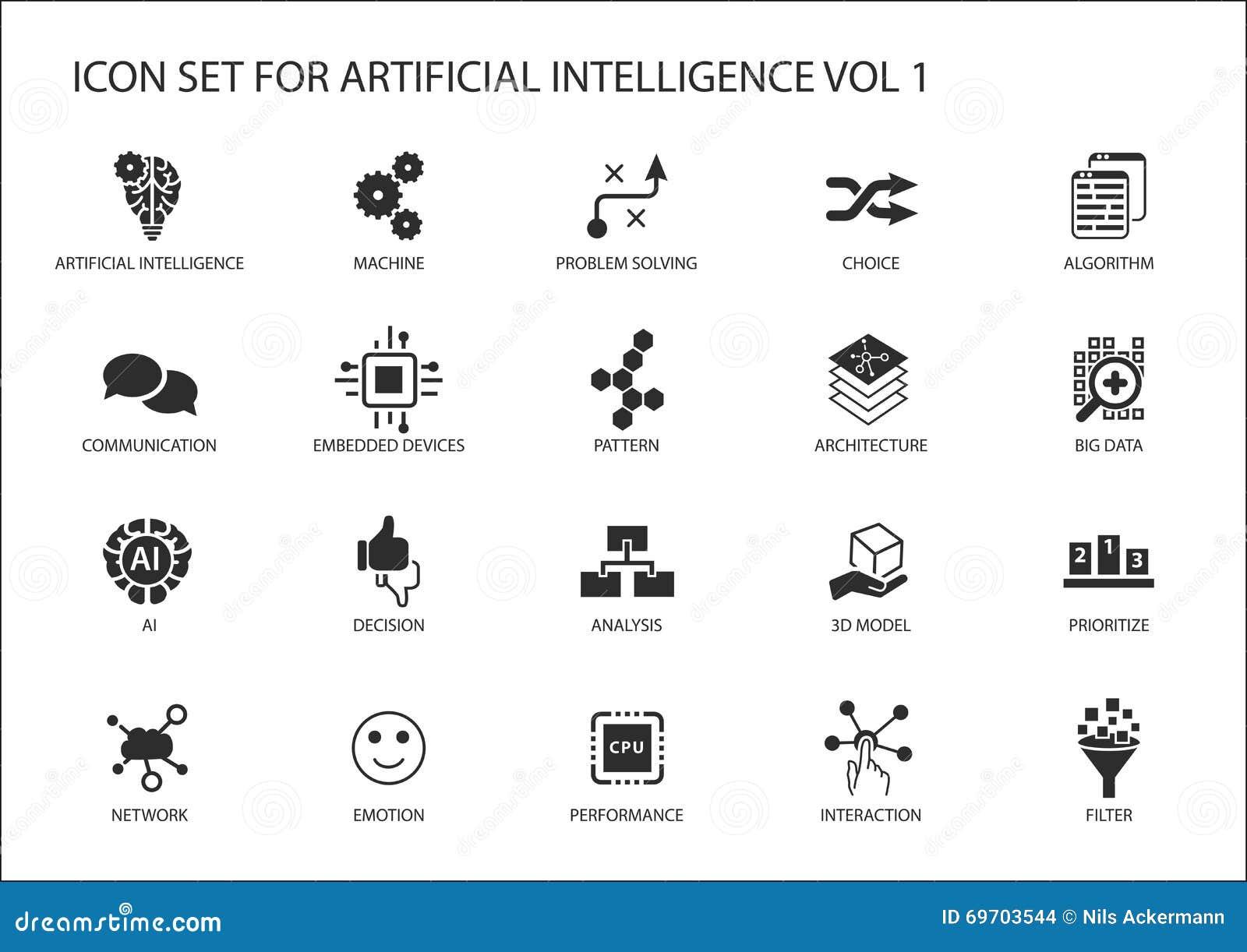 Icono del vector fijado para el concepto de la inteligencia artificial (AI) Diversos símbolos para el tema usando diseño plano