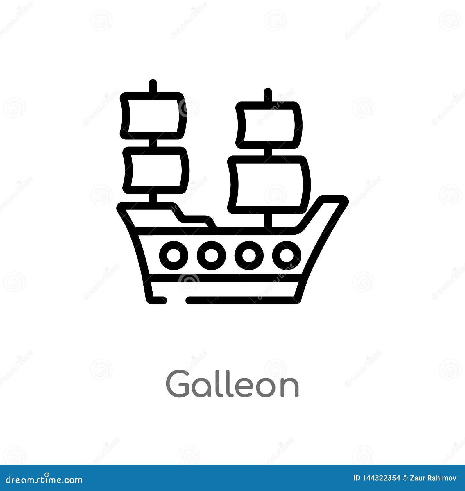 Icono del vector del galeón del esquema línea simple negra aislada ejemplo del elemento del concepto del transporte Movimiento Ed