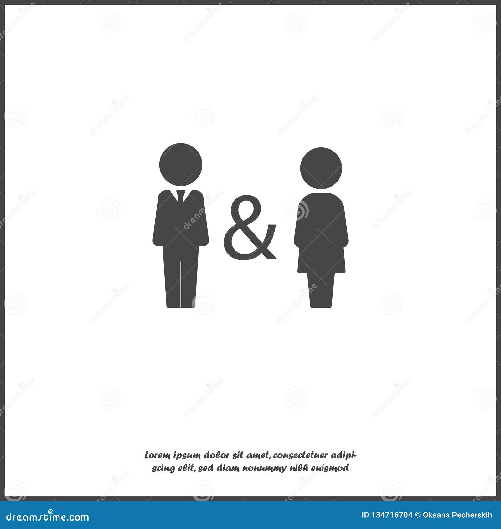 Icono del vector del hombre y de la mujer Símbolo de la familia de la proximidad, ayuda, compatibilidad Vida común, vida y trabaj