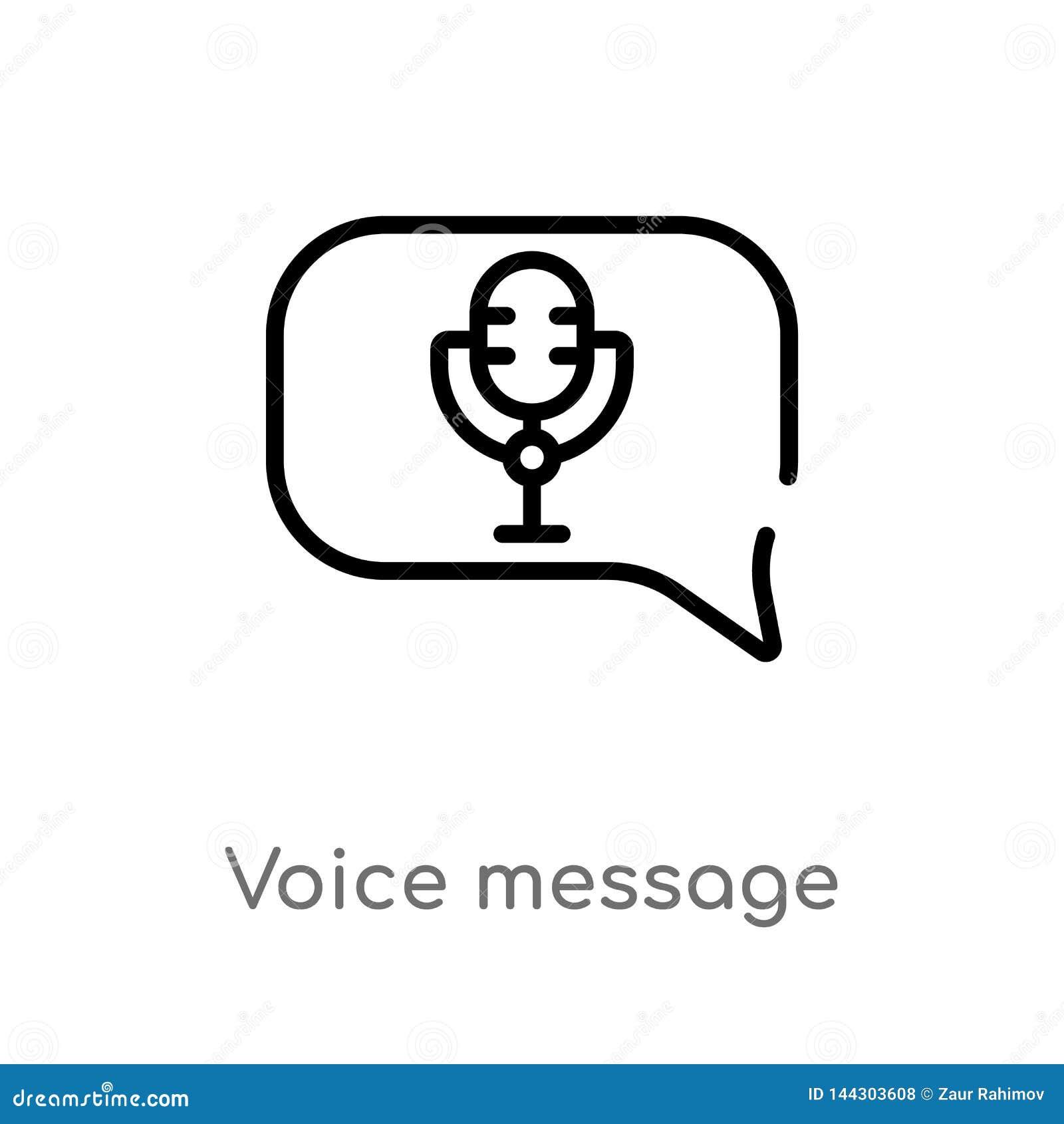 Icono del vector del mensaje de la voz del esquema l?nea simple negra aislada ejemplo del elemento del concepto de la interfaz de