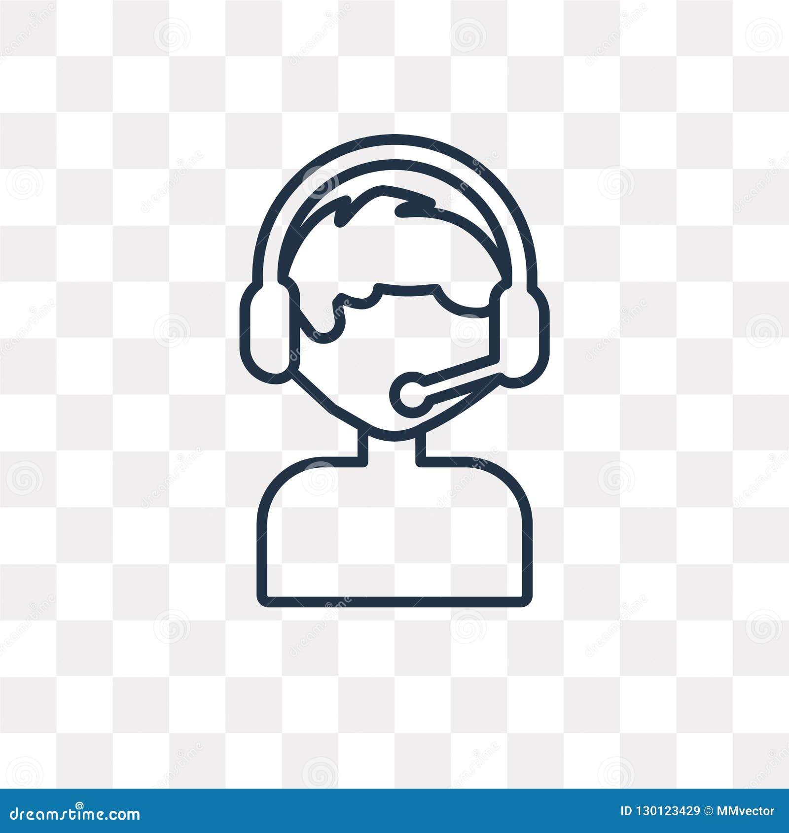 Icono del vector del servicio de atención al cliente aislado en fondo transparente,