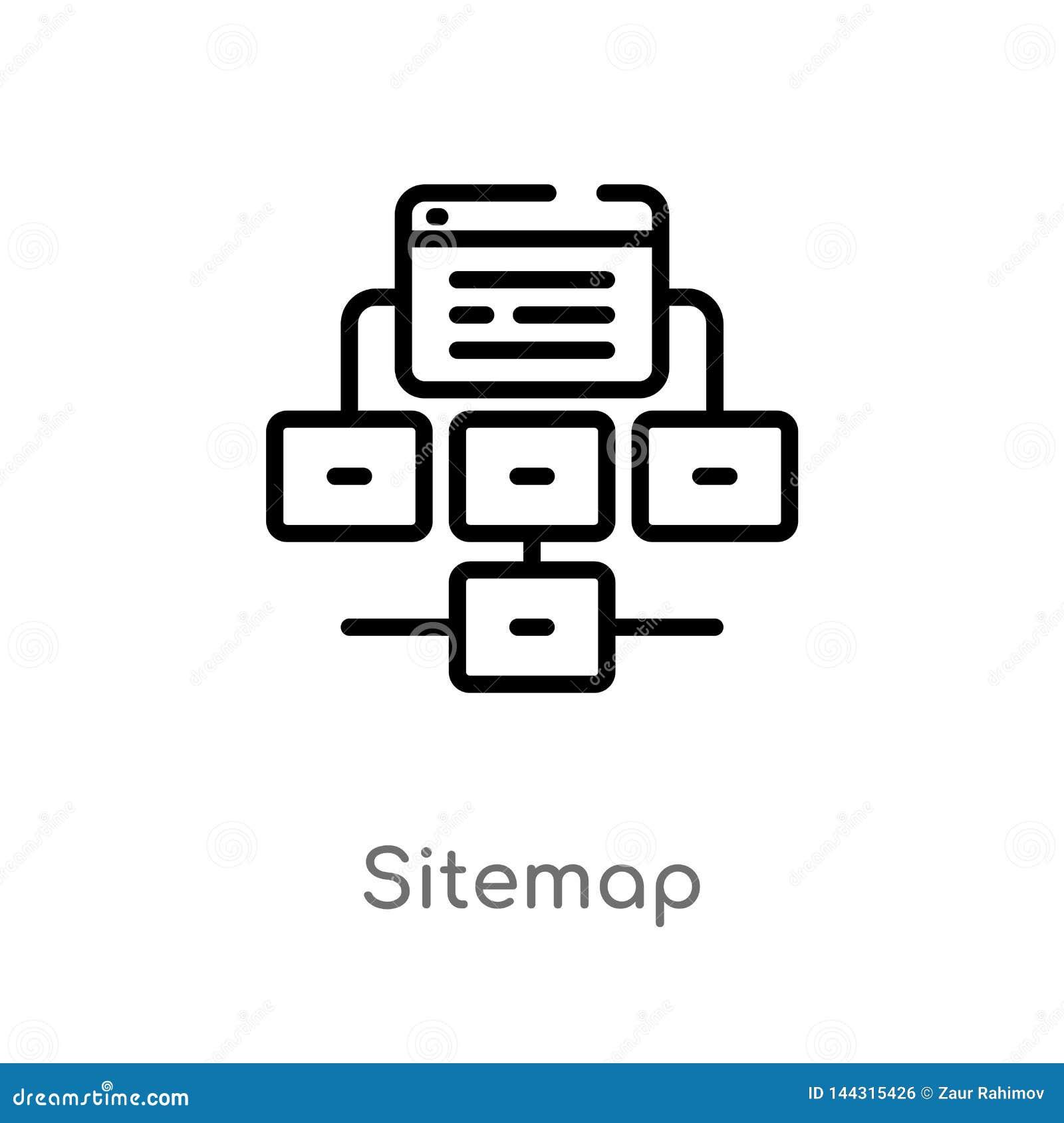 Icono del vector del sitemap del esquema l?nea simple negra aislada ejemplo del elemento del concepto del seo y de la web Movimie