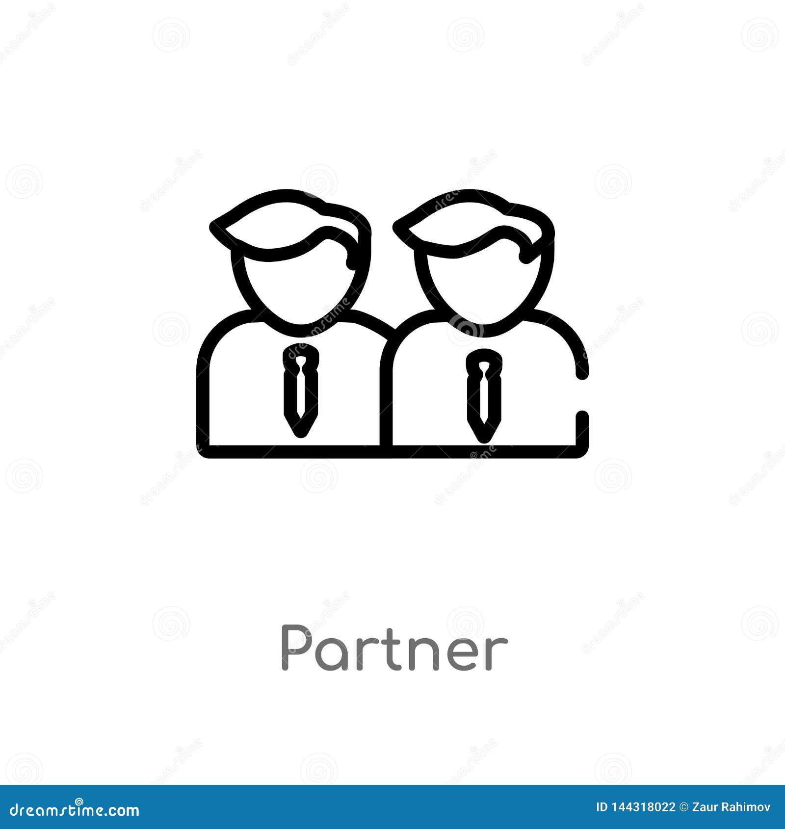 Icono del vector del socio del esquema línea simple negra aislada ejemplo del elemento del concepto de la estrategia socio editab