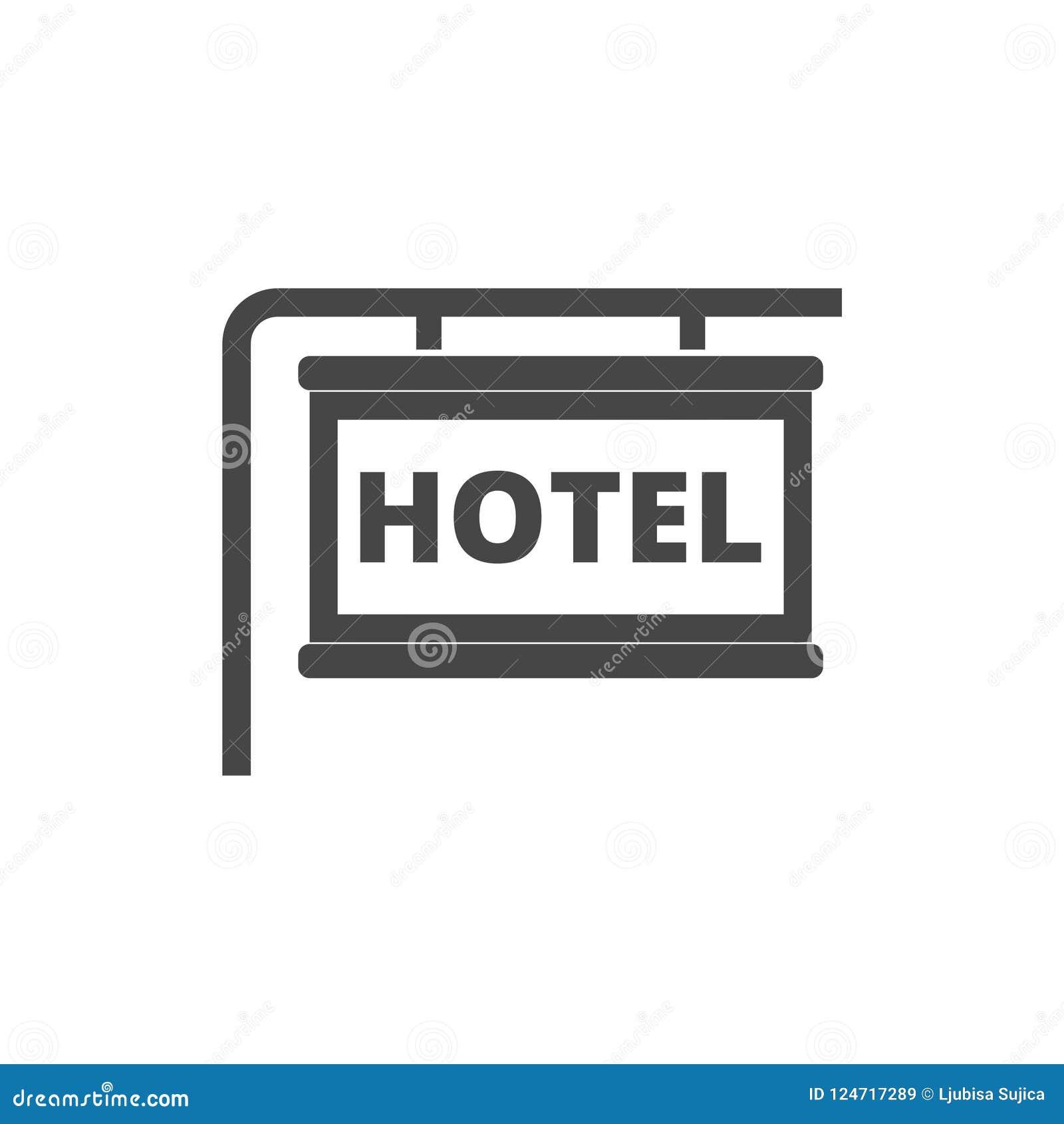 Icono del vector del tablero de la información, icono del hotel