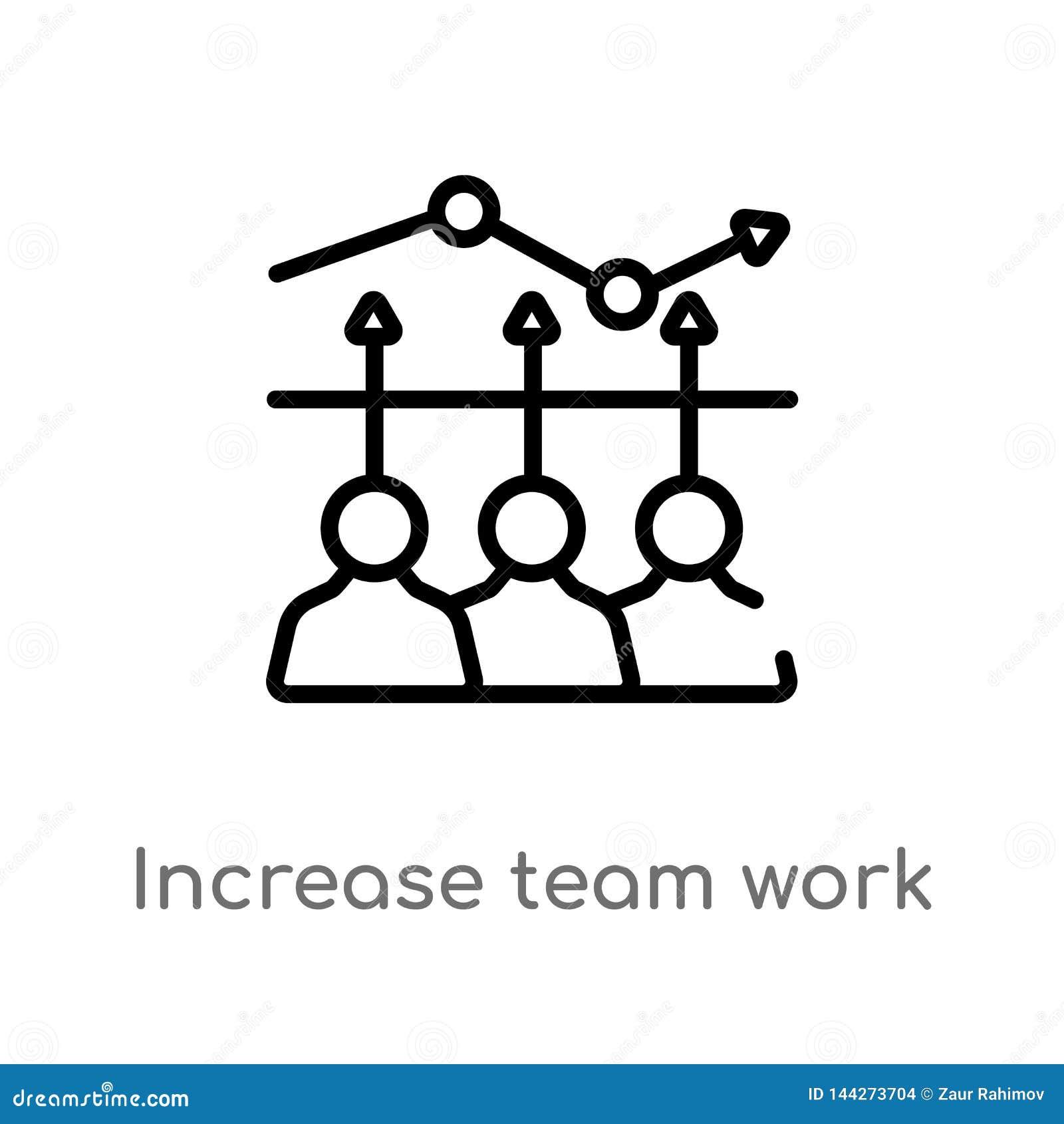 Icono del vector del trabajo del equipo del aumento del esquema línea simple negra aislada ejemplo del elemento del concepto del