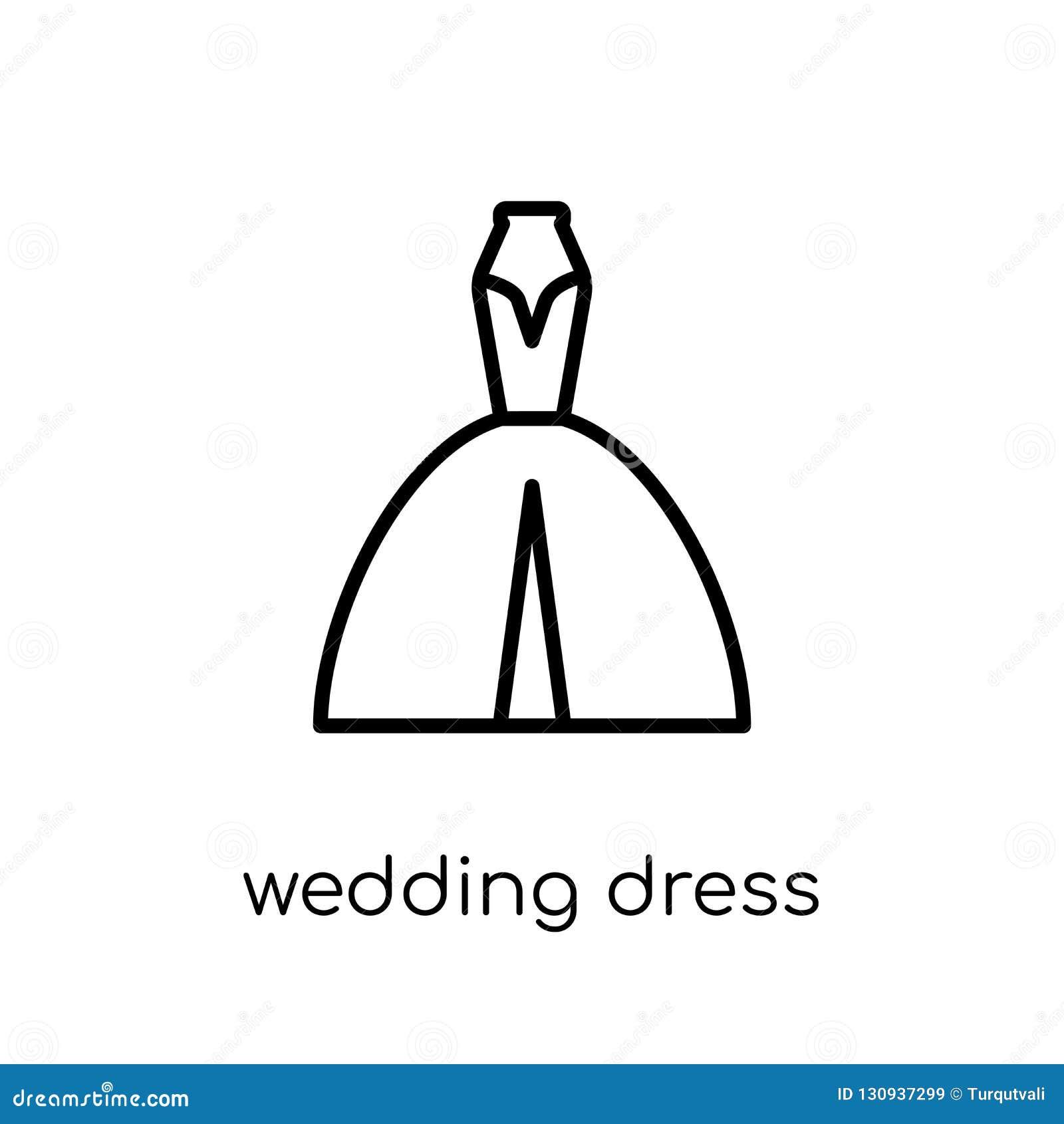 Icono del vestido de boda de la colección de la boda y del amor