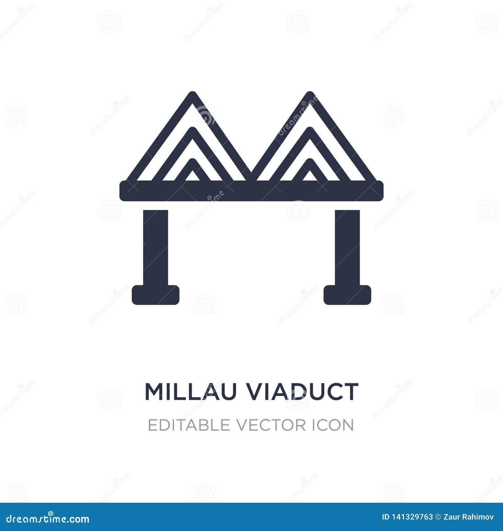 Icono del viaducto de Millau en el fondo blanco Ejemplo simple del elemento del concepto de los monumentos