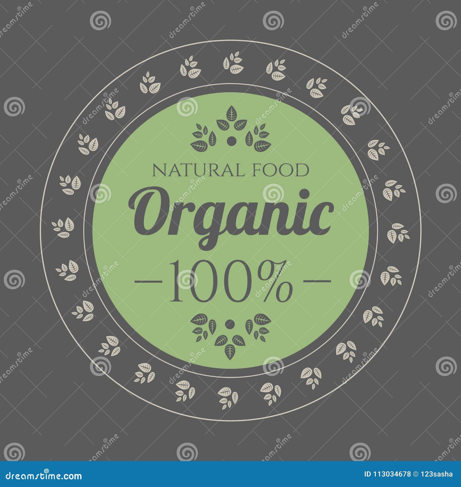 Icono del vintage del alimento biológico