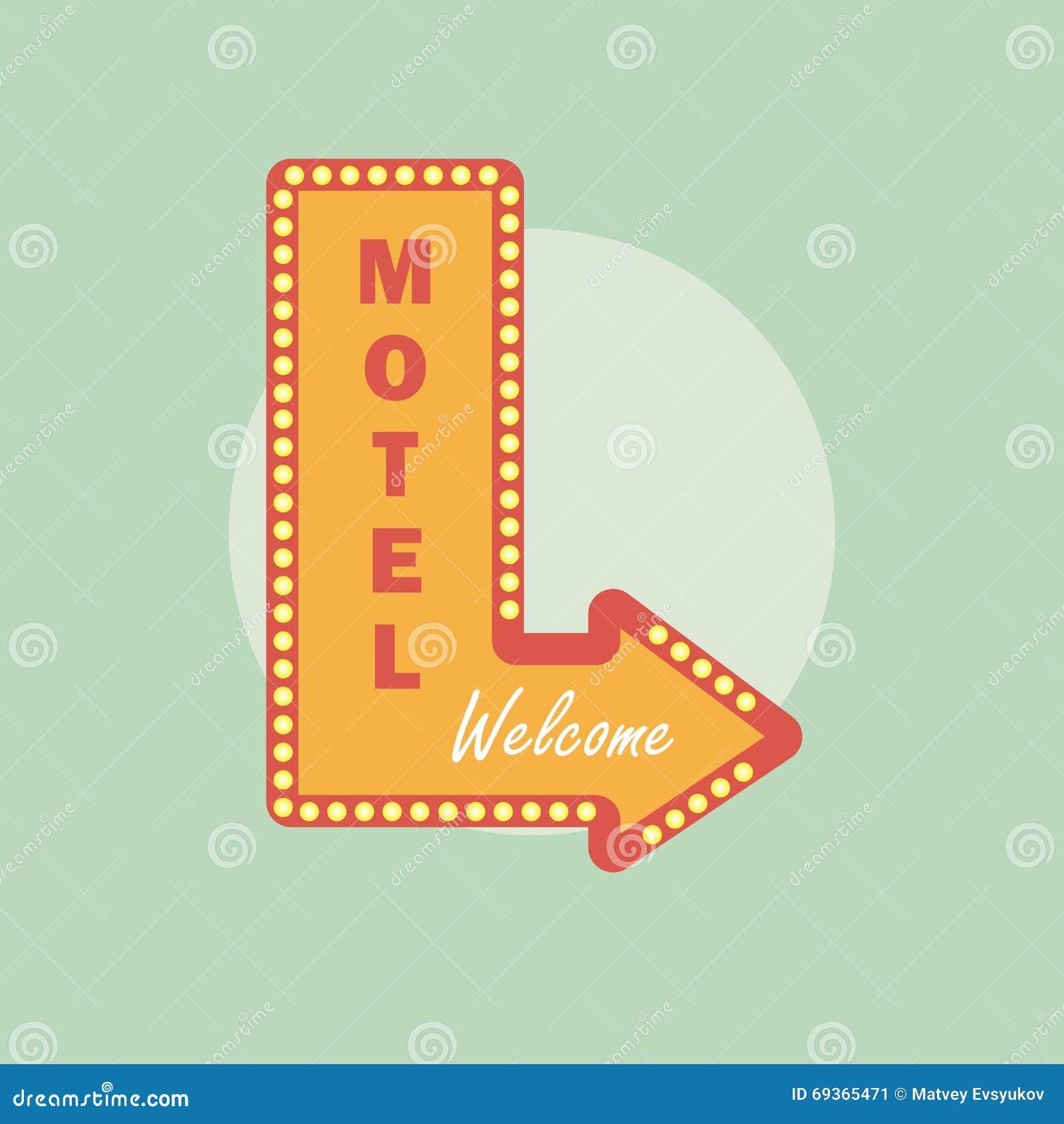 Icono del vintage del motel Estilo retro del motel Concepto del motel en estilo plano
