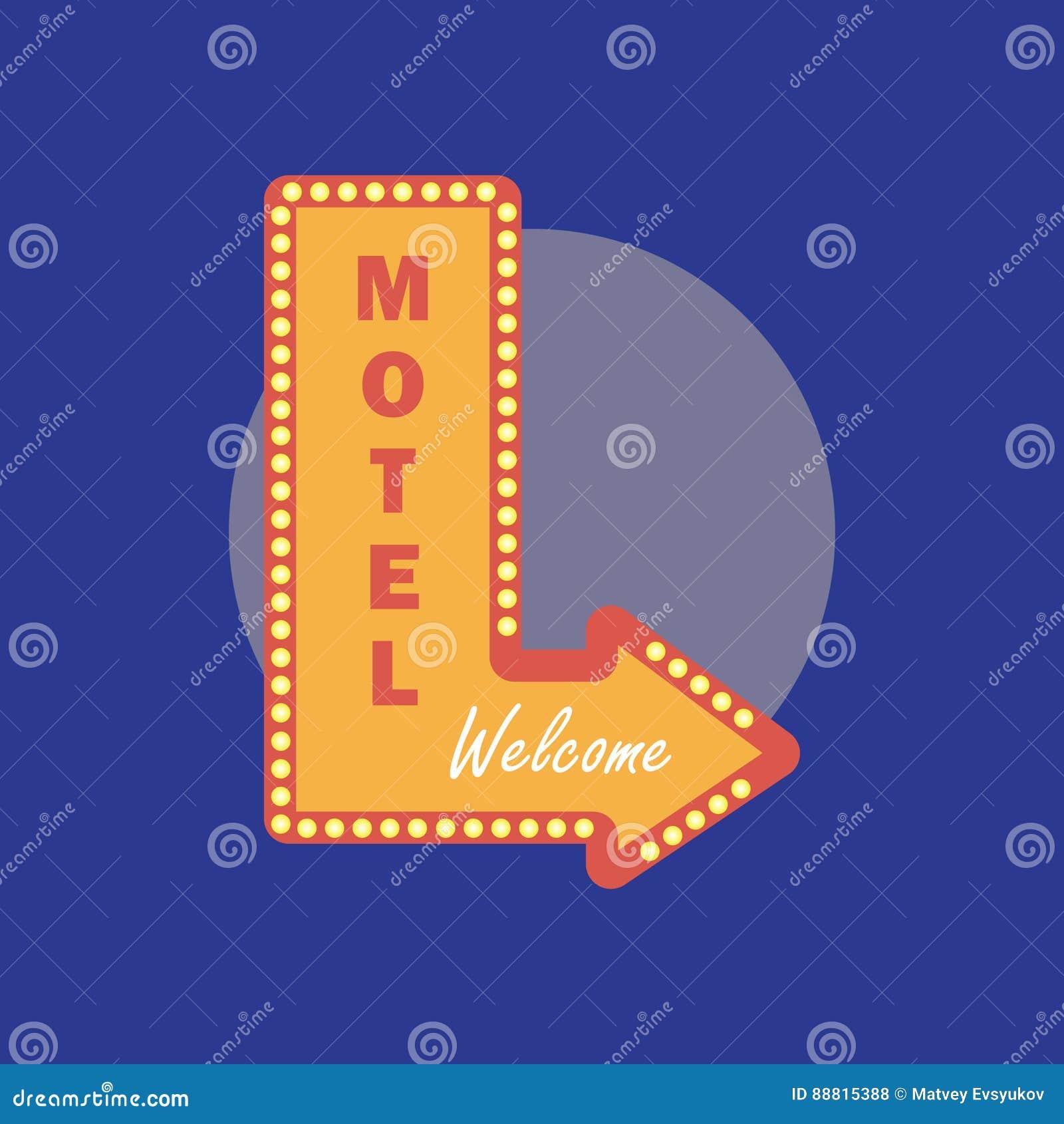 Icono del vintage del motel Estilo retro del motel Concepto del motel en pocilga plana