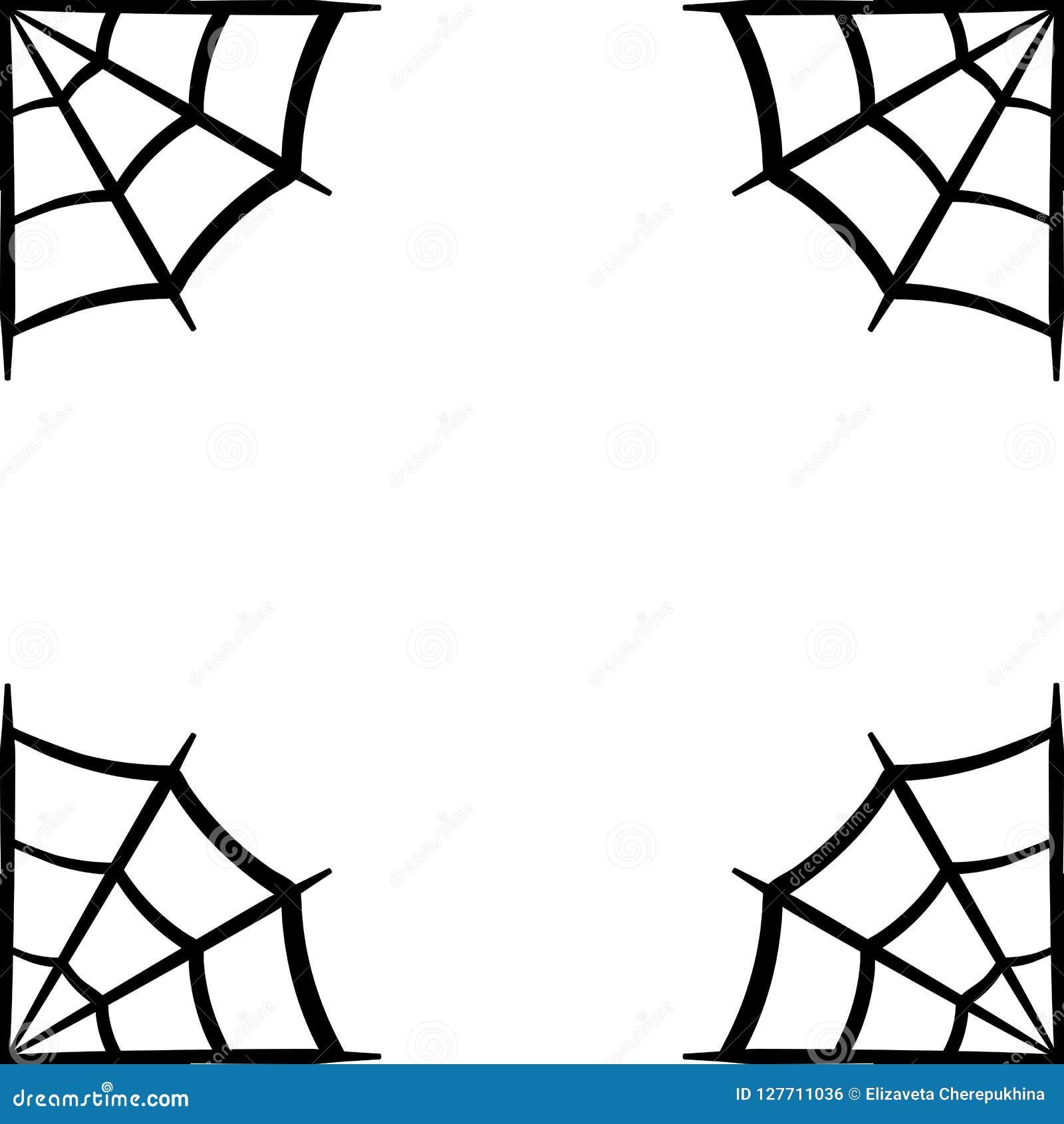Icono del web de araña Marco de web de araña Silueta del vector de la telaraña Clip art de Spiderweb Ejemplo plano del vector