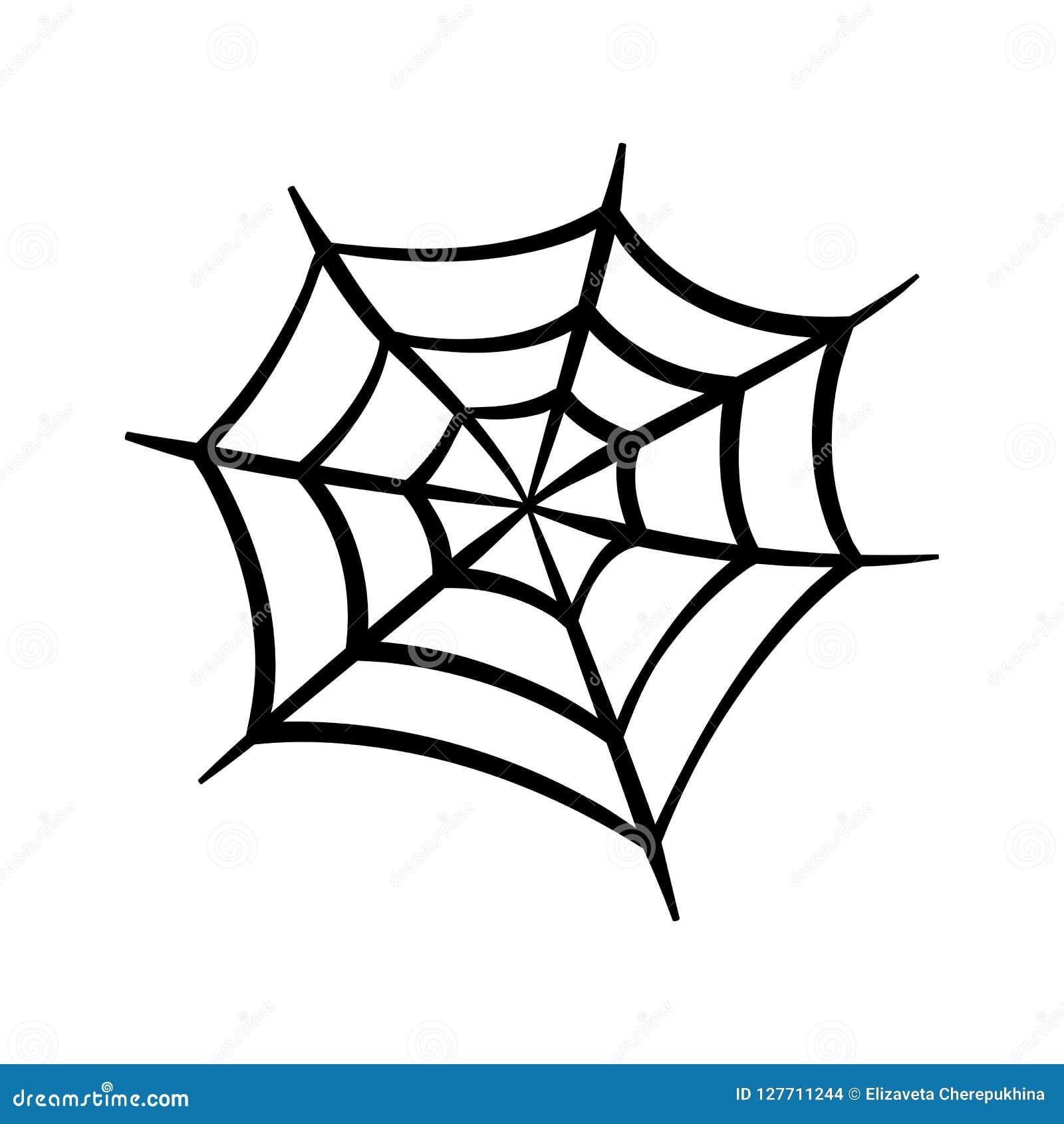 Icono del web de araña Silueta del vector de la telaraña Clip art de Spiderweb Ejemplo plano del vector