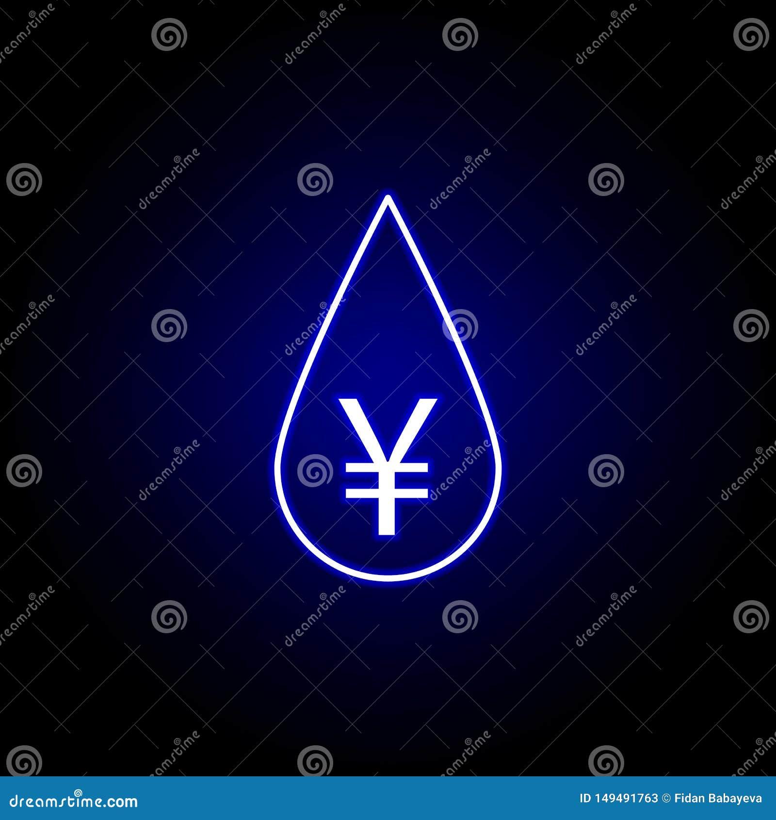 Icono del yuan del aceite del descenso en el estilo de neón Elemento del ejemplo de las finanzas Las muestras y el icono de los s