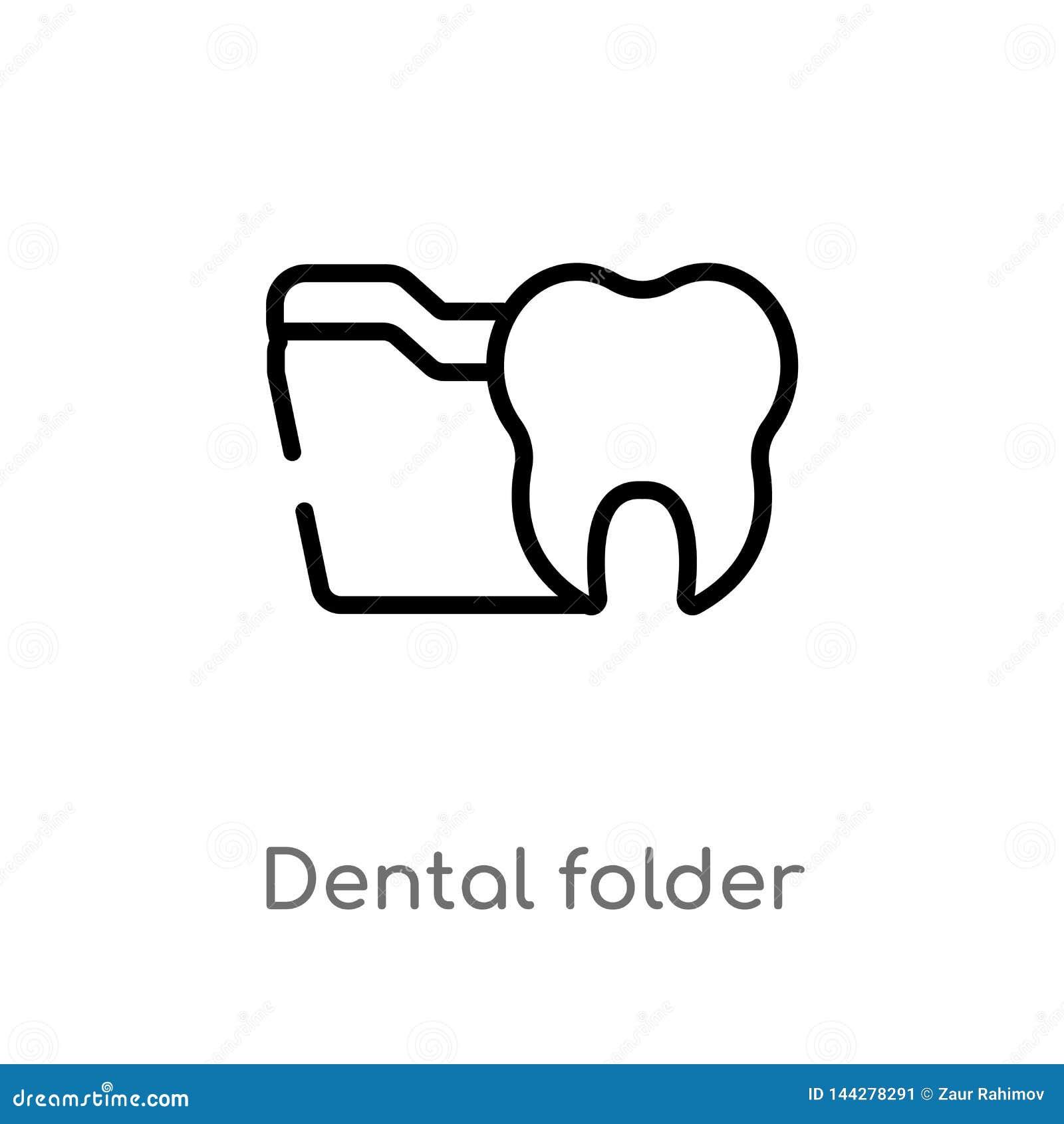 Icono dental del vector de la carpeta del esquema l?nea simple negra aislada ejemplo del elemento del concepto del dentista Movim