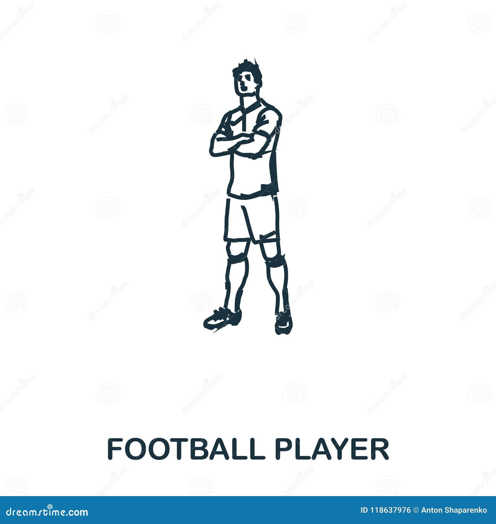 Icono derecho del futbolista Apps móviles, impresión y más uso El elemento simple canta Futbolista monocromático