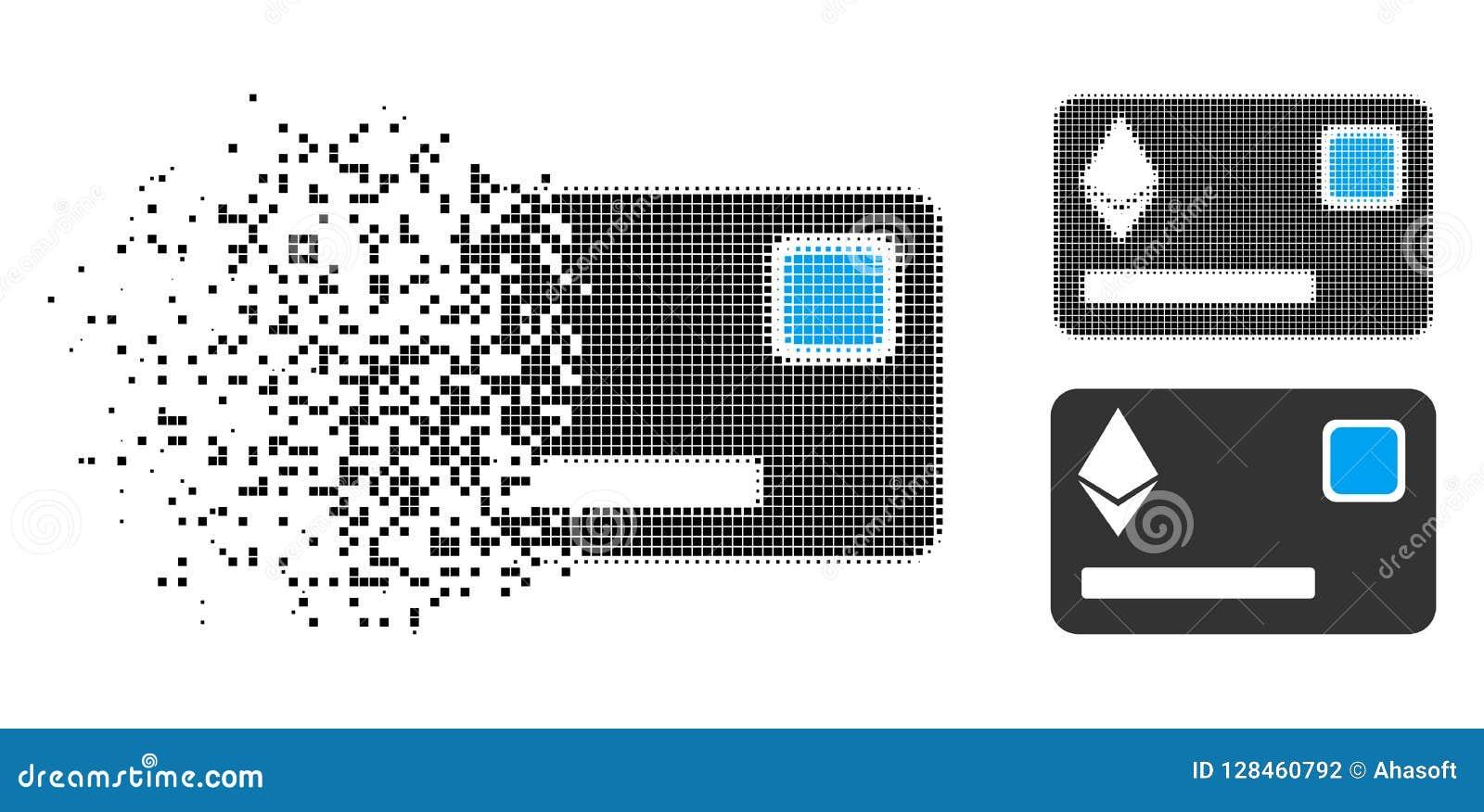 Icono Destructed de Dot Halftone Ethereum Credit Card
