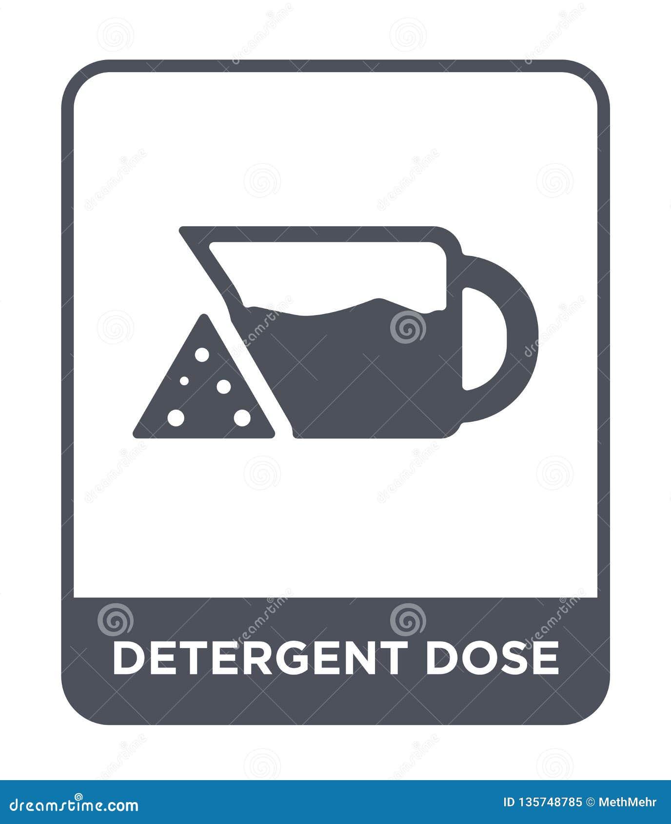 Icono detergente de la dosis en estilo de moda del diseño icono detergente de la dosis aislado en el fondo blanco icono detergent
