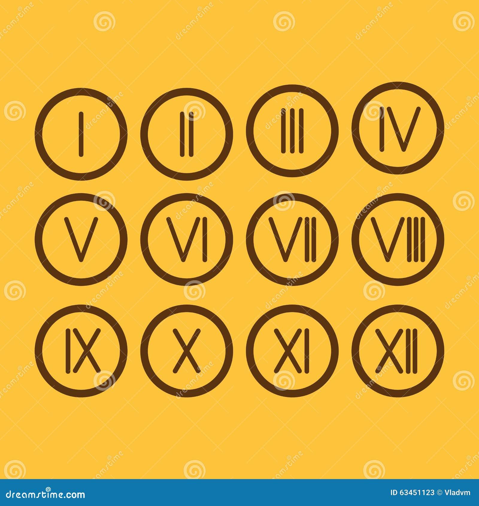 Icono Determinado De Los Números Romanos 1 12 Stock De Ilustración