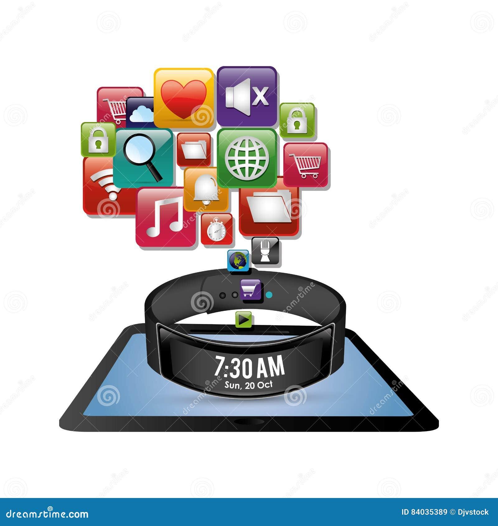 Icono digital de la pulsera de la innovación elegante de la tableta