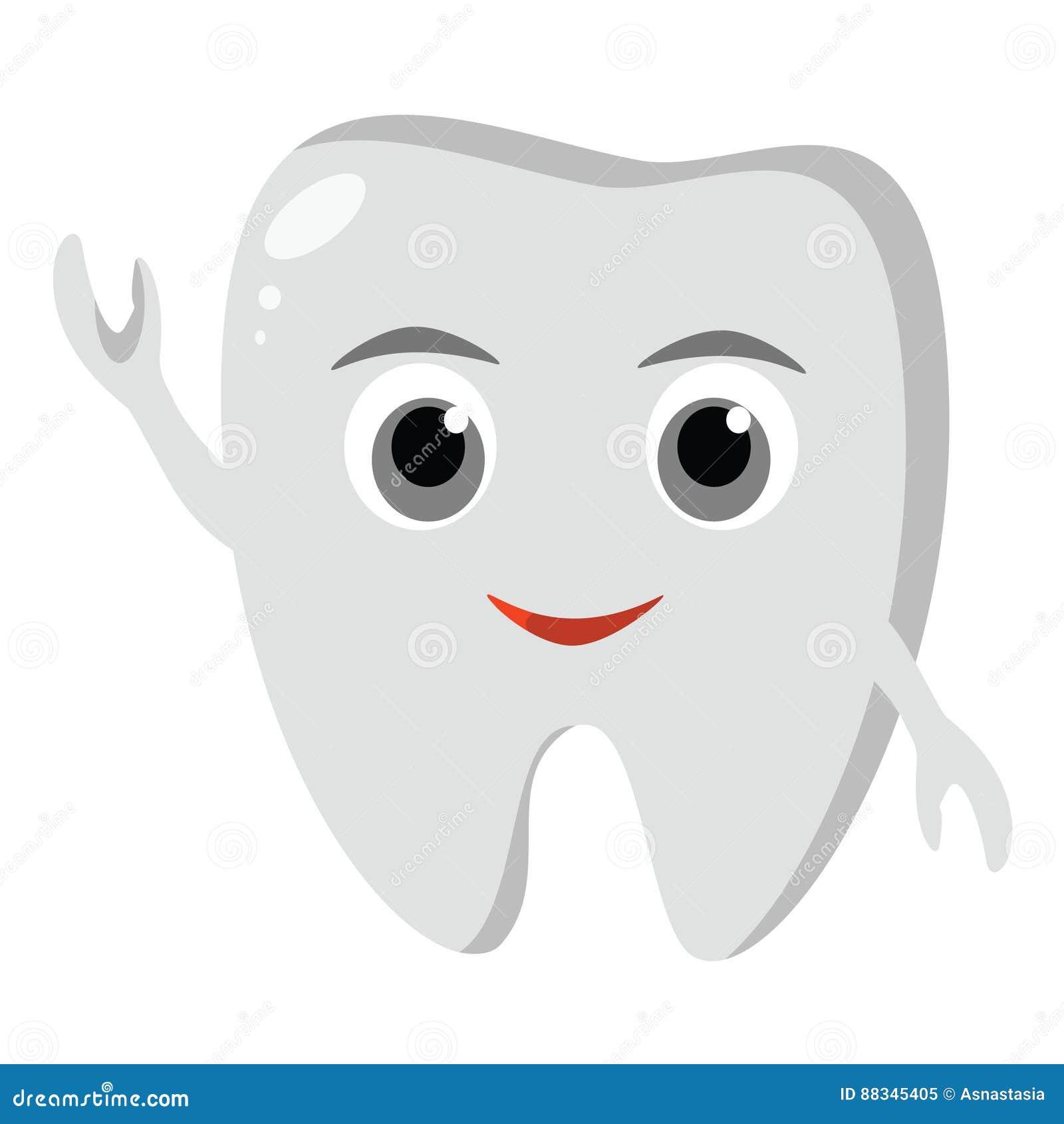 Icono divertido lindo del diente Higiene dental oral Cuidado de los dientes de los niños Ilustración del vector