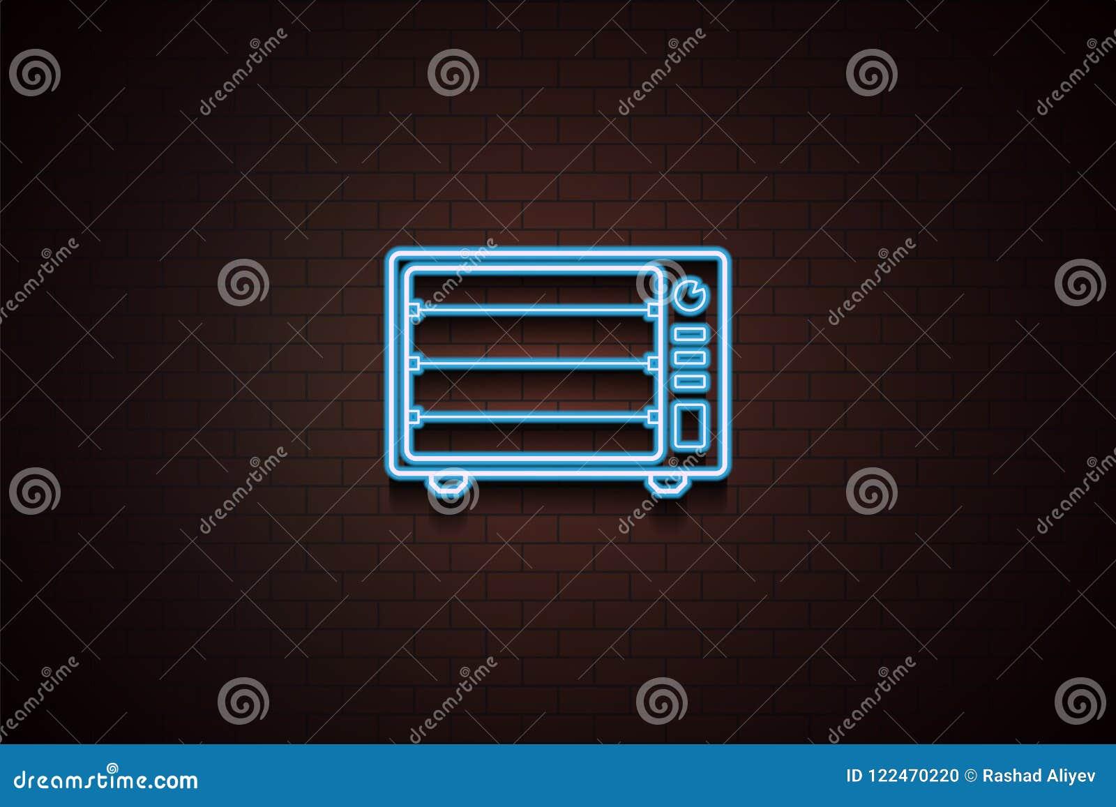 Icono eléctrico del horno en el estilo de neón Uno del icono de la colección de los dispositivos se puede utilizar para UI/UX