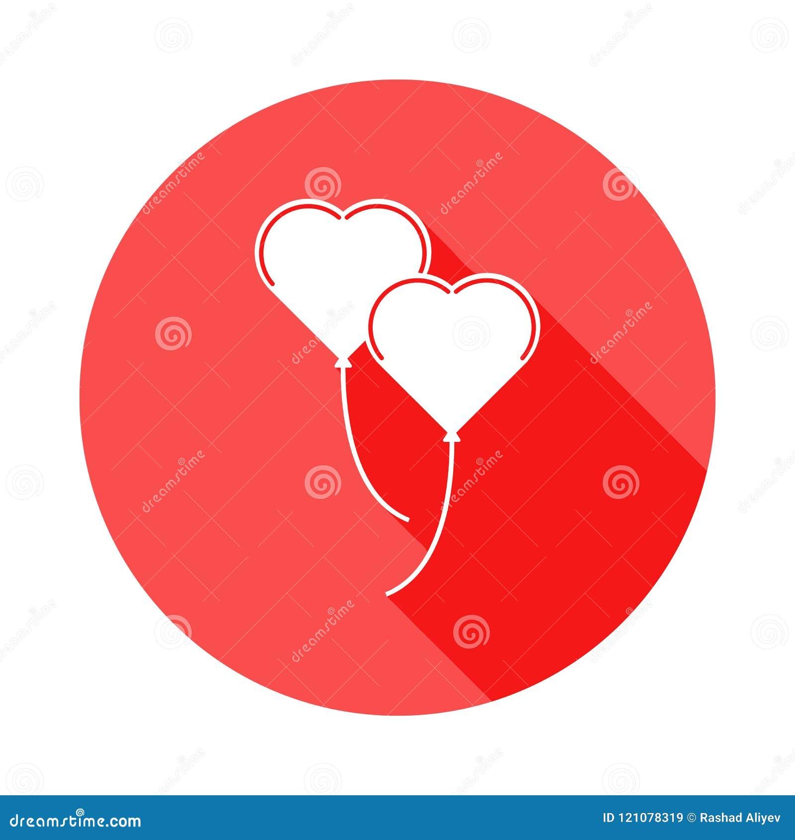 Icono en forma de corazón de las bolas en sombra plana, larga