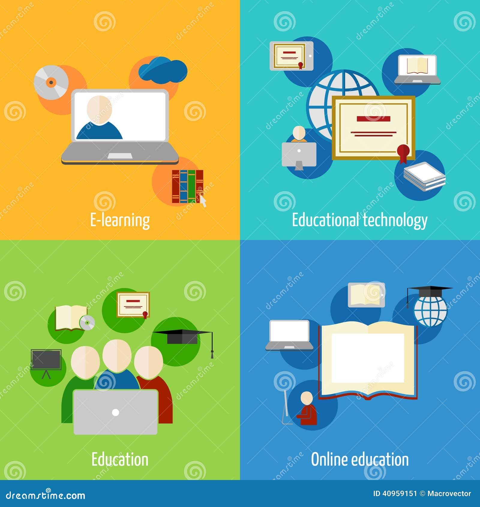Icono en línea de la educación plano