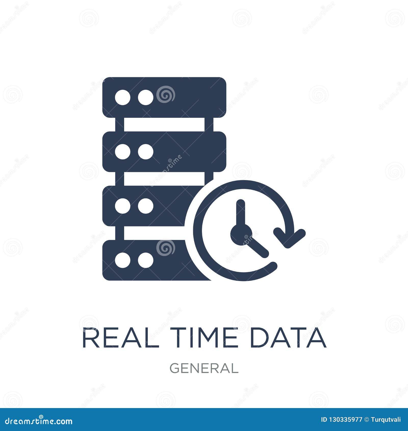 Icono en tiempo real de los datos Icono en tiempo real de los datos del vector plano de moda en w