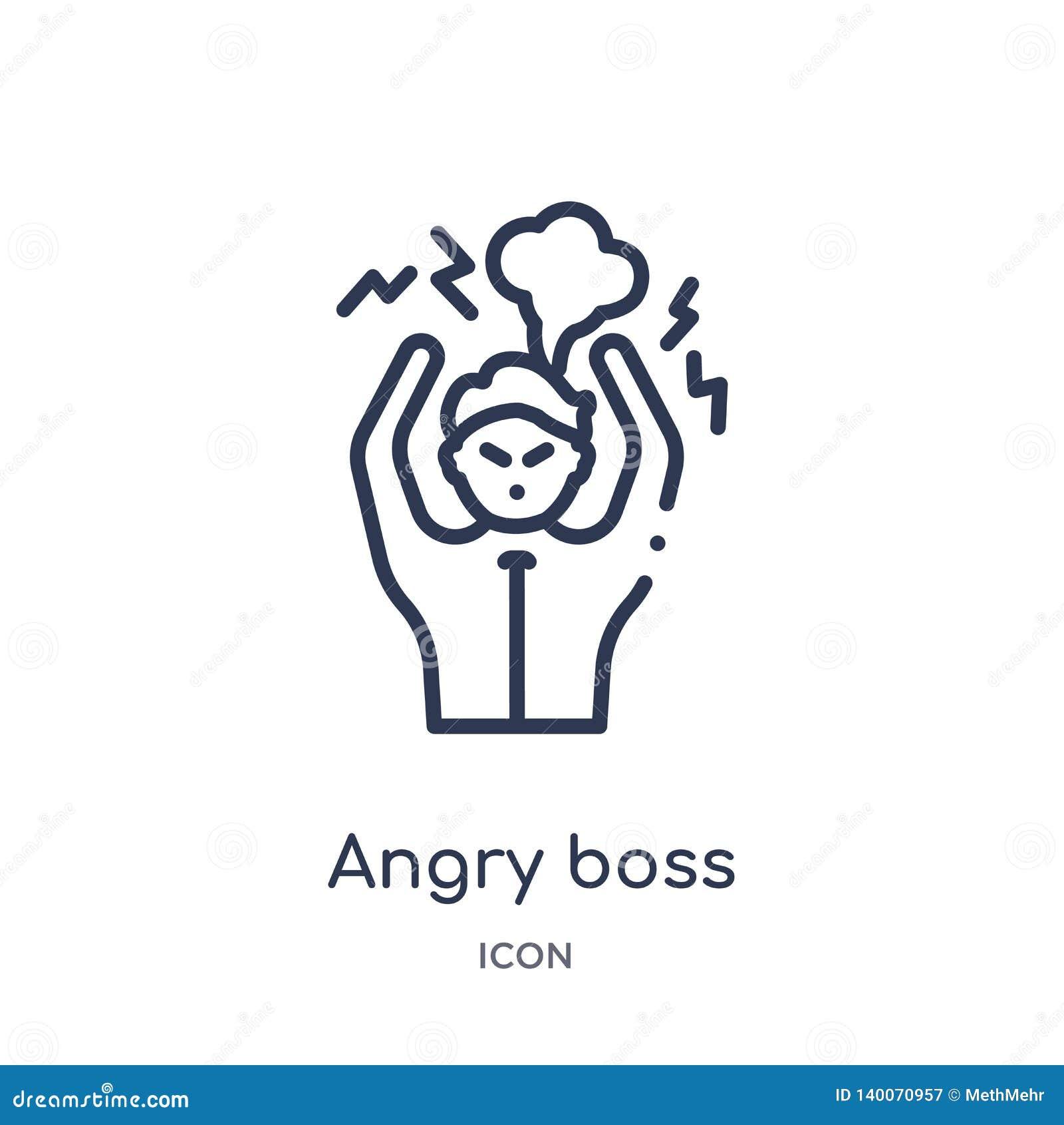 Icono enojado linear del jefe de la colección del esquema del negocio Línea fina icono enojado del jefe aislado en el fondo blanc
