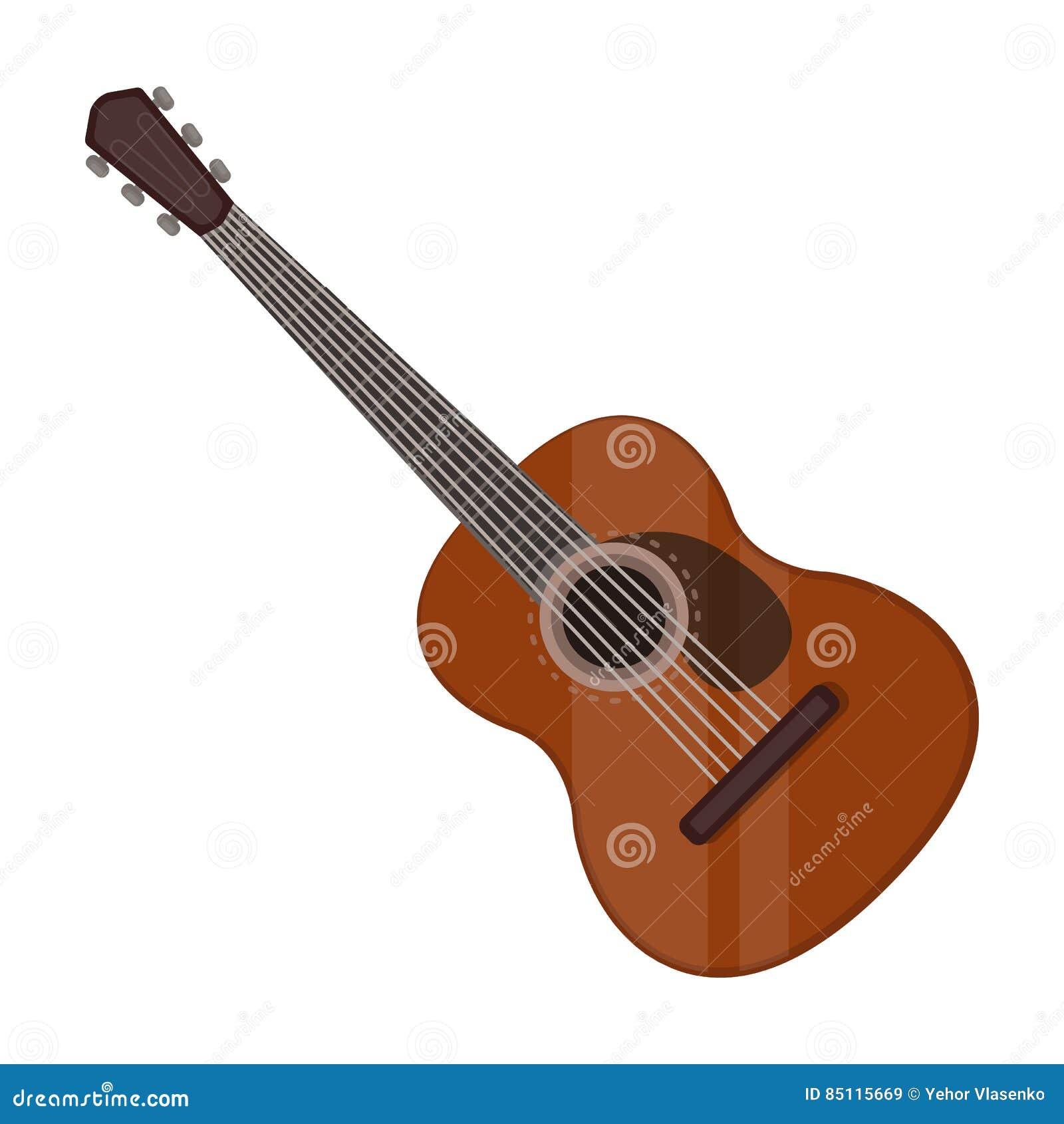 Icono español de la guitarra acústica en estilo de la historieta aislado en el fondo blanco Vector de la acción del símbolo del p