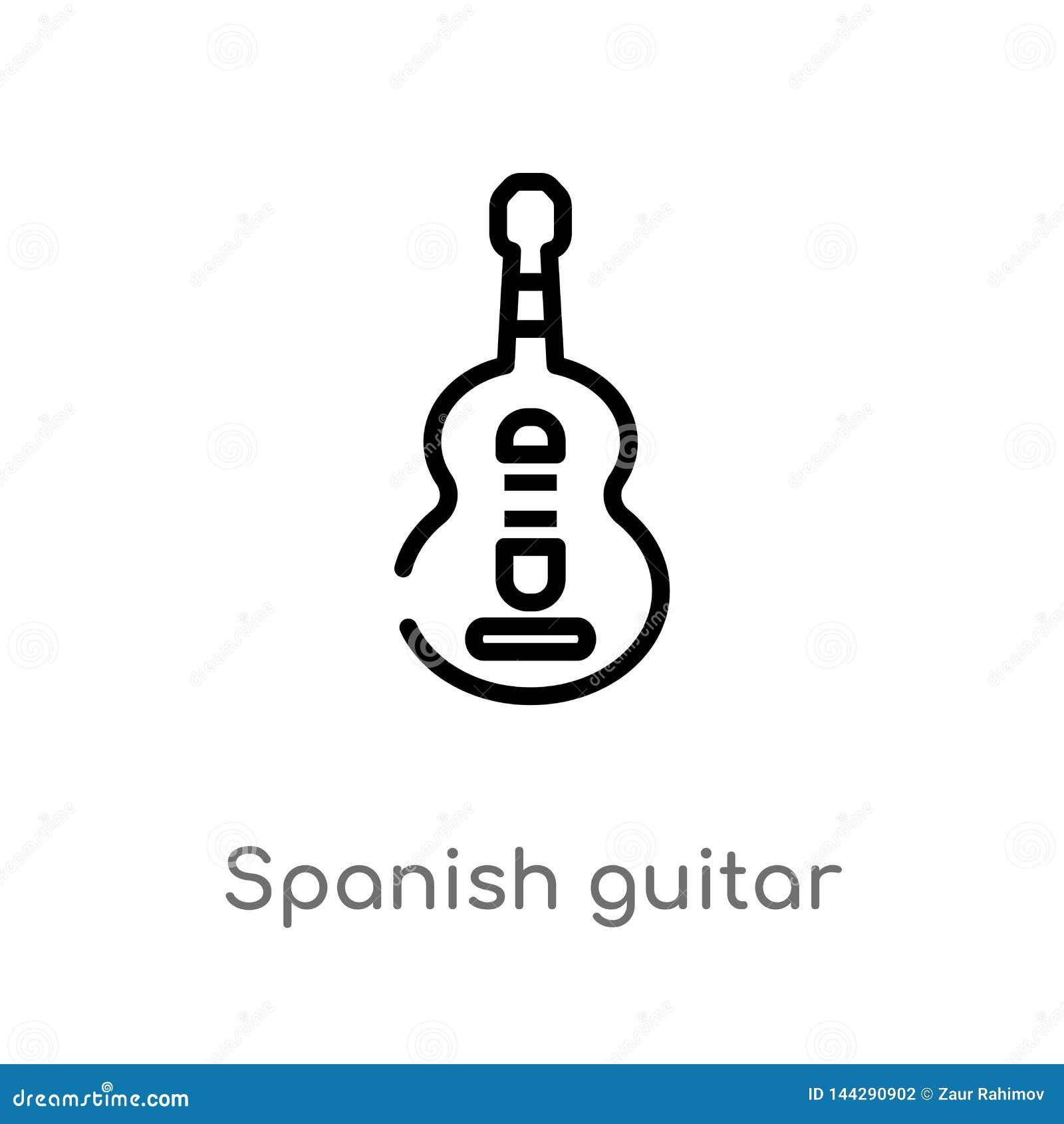 Icono español del vector de la guitarra del esquema l?nea simple negra aislada ejemplo del elemento del concepto de la m?sica Mov