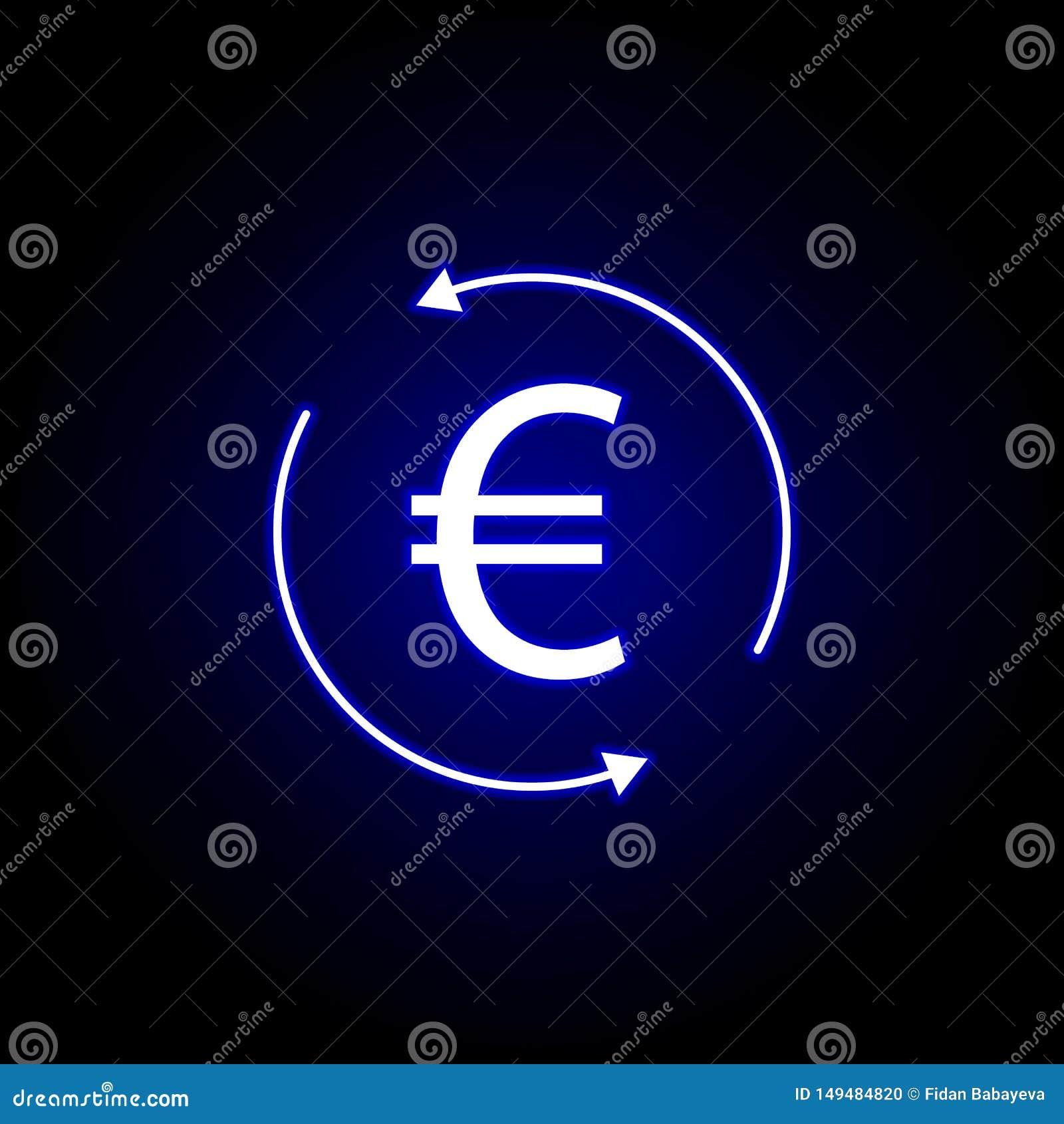 Icono euro de la flecha del círculo en el estilo de neón Elemento del ejemplo de las finanzas Las muestras y el icono de los s?mb