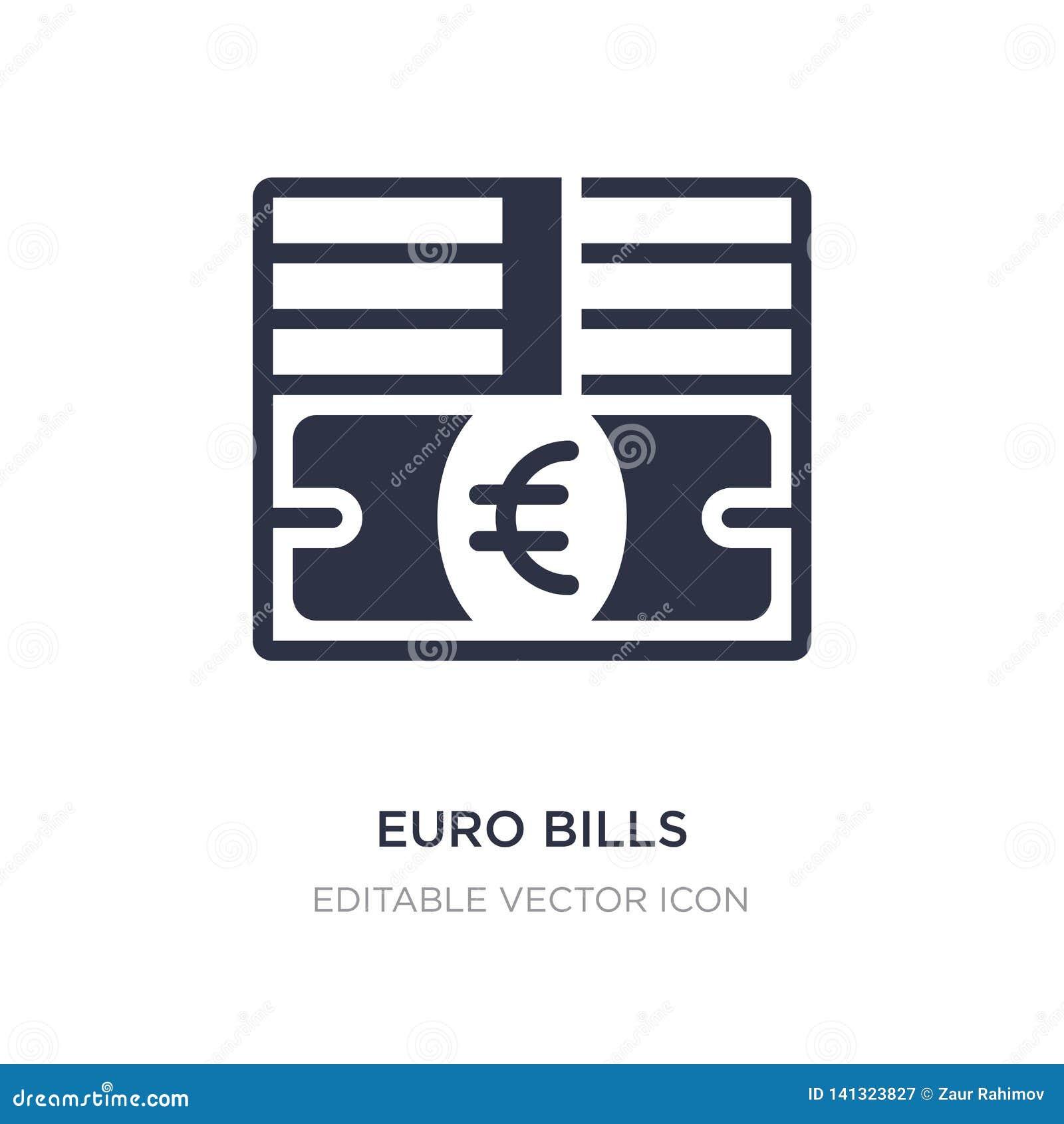 Icono euro de las cuentas en el fondo blanco Ejemplo simple del elemento del concepto del negocio