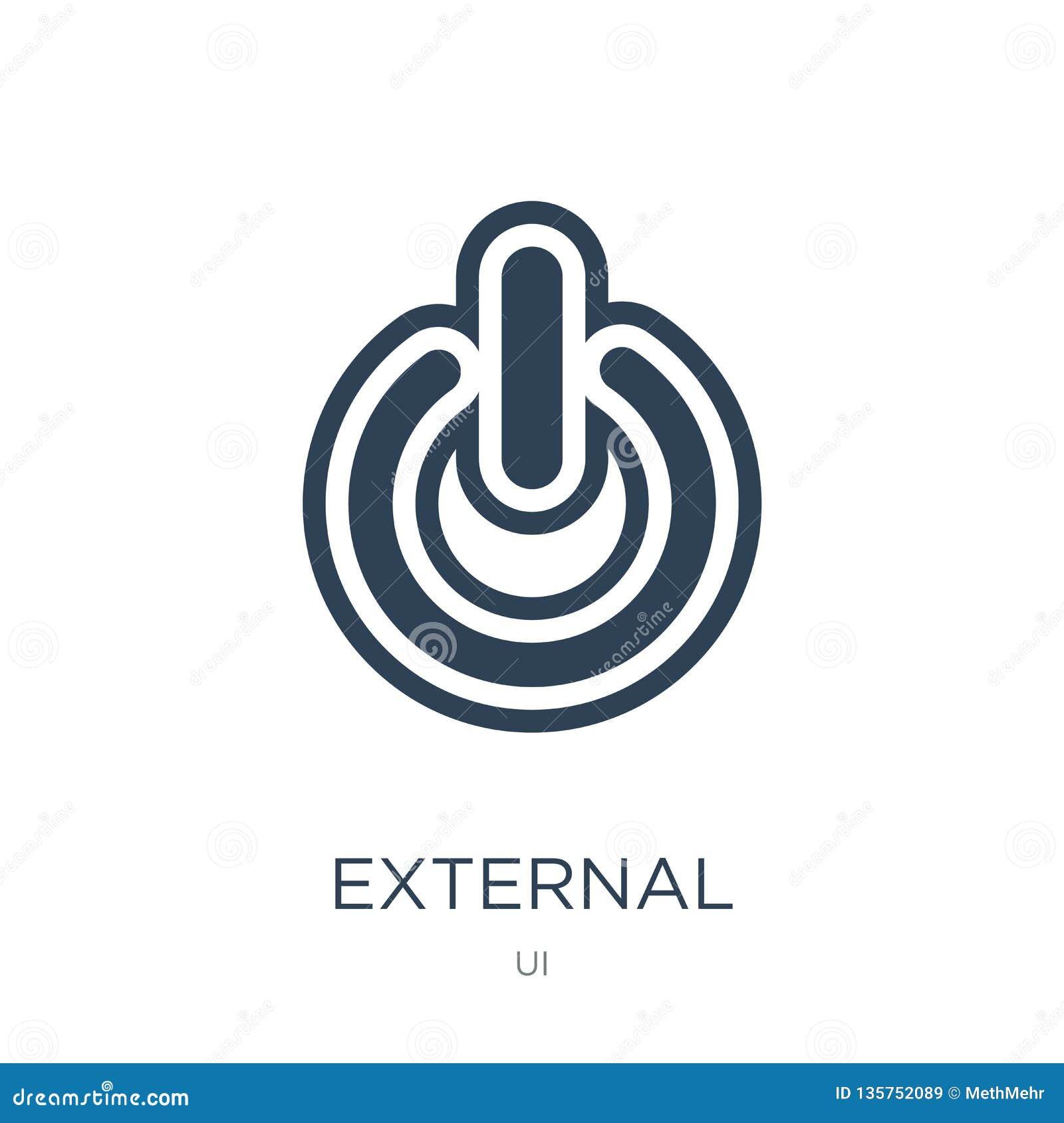 Icono externo en estilo de moda del diseño icono externo aislado en el fondo blanco plano simple y moderno del icono externo del