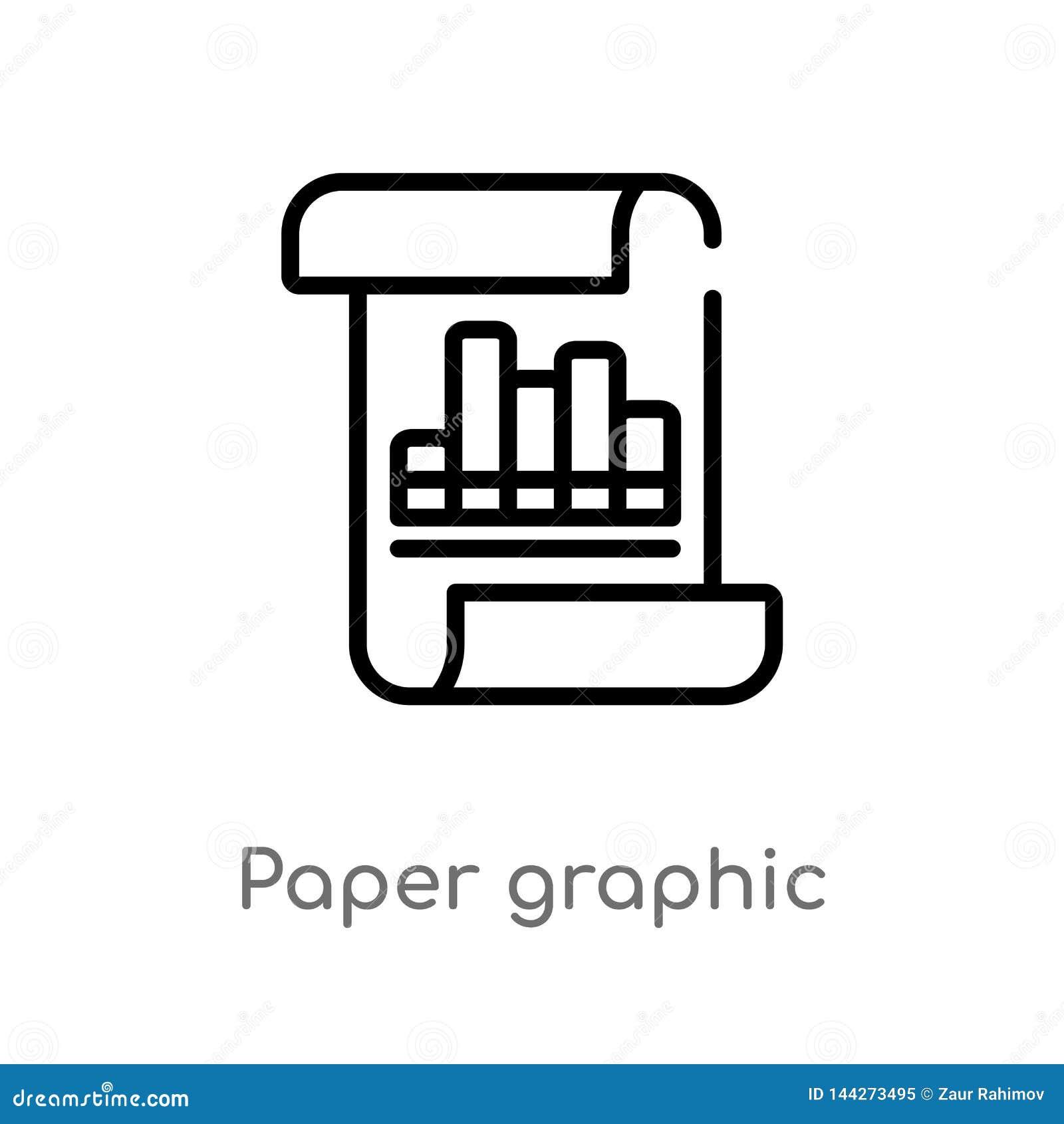 Icono gráfico del vector del papel de esquema línea simple negra aislada ejemplo del elemento del concepto del negocio Movimiento