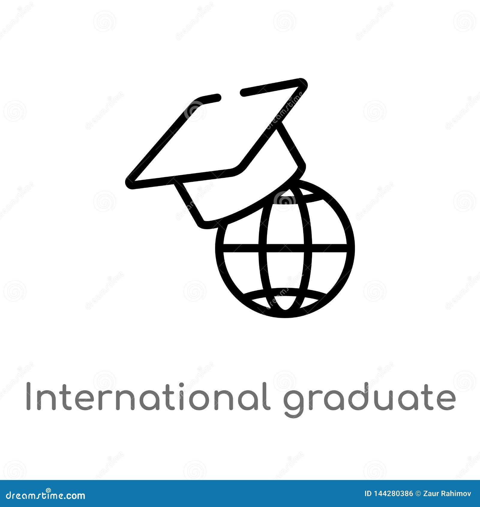 Icono graduado internacional del vector del esquema l?nea simple negra aislada ejemplo del elemento del concepto de la educaci?n