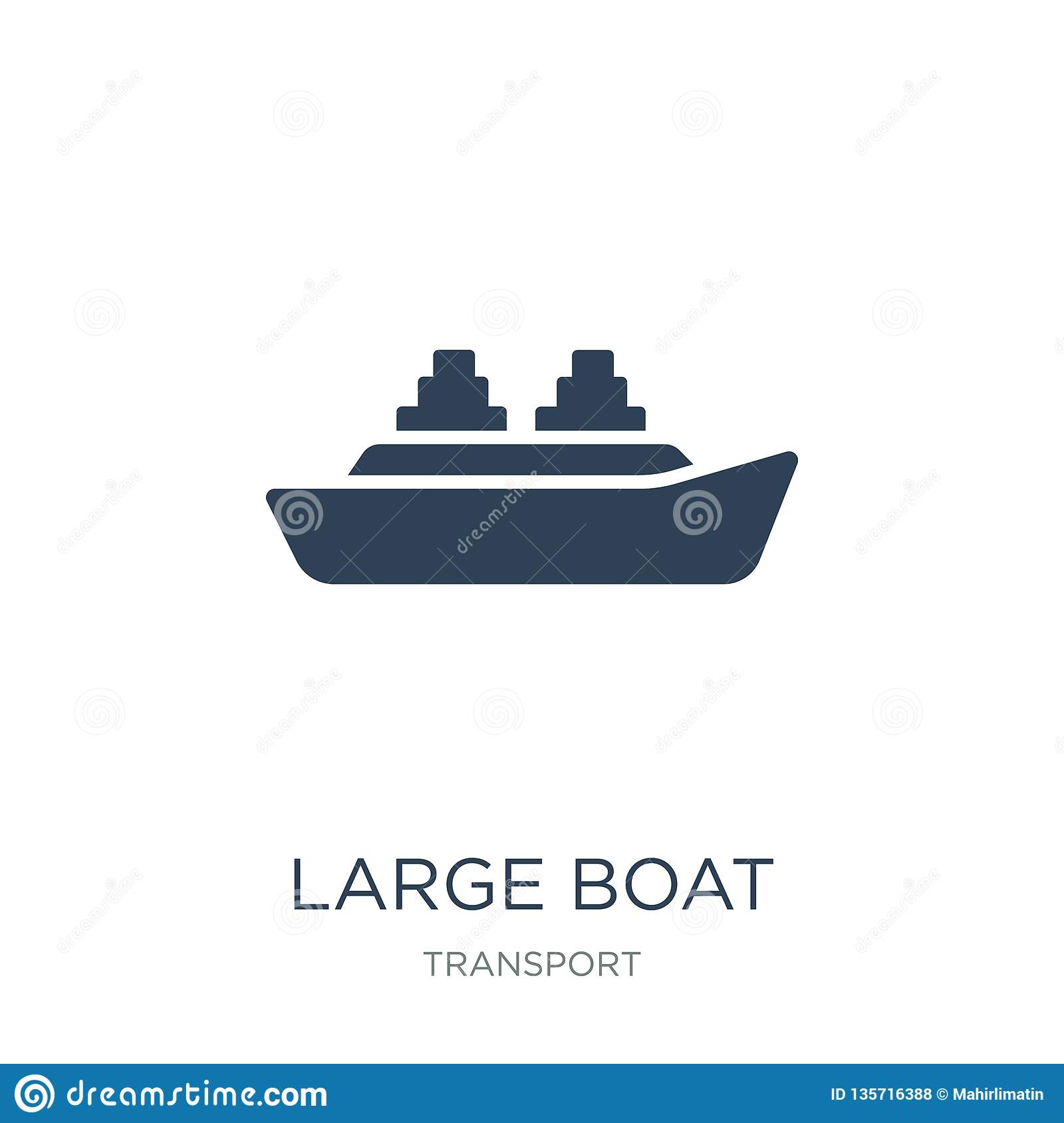 Icono grande del barco en estilo de moda del diseño icono grande del barco aislado en el fondo blanco icono grande del vector del