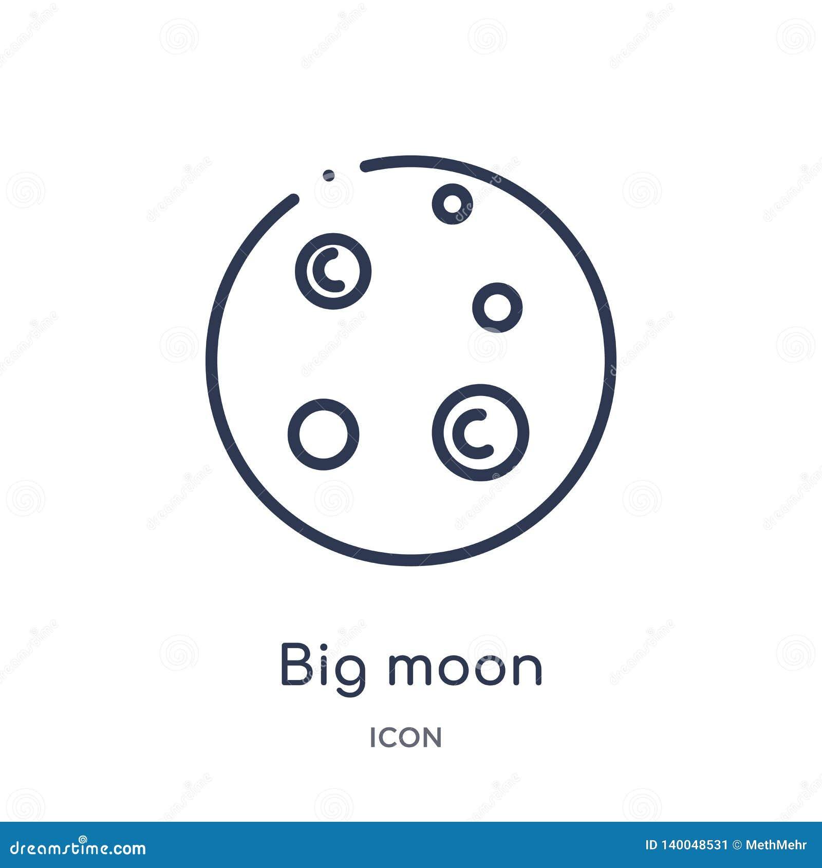 Icono grande linear de la luna de la colección del esquema de la astronomía Línea fina vector grande de la luna aislado en el fon