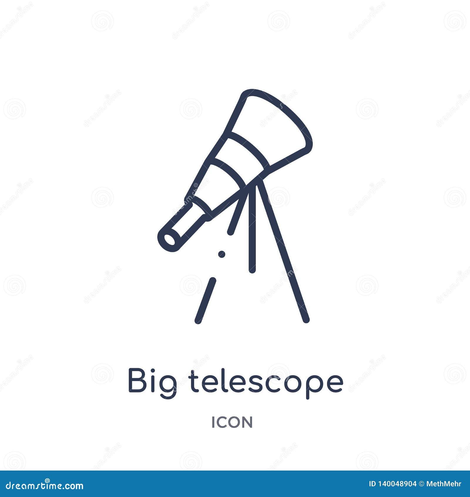 Icono grande linear del telescopio de la colección del esquema de la astronomía Línea fina vector grande del telescopio aislado e