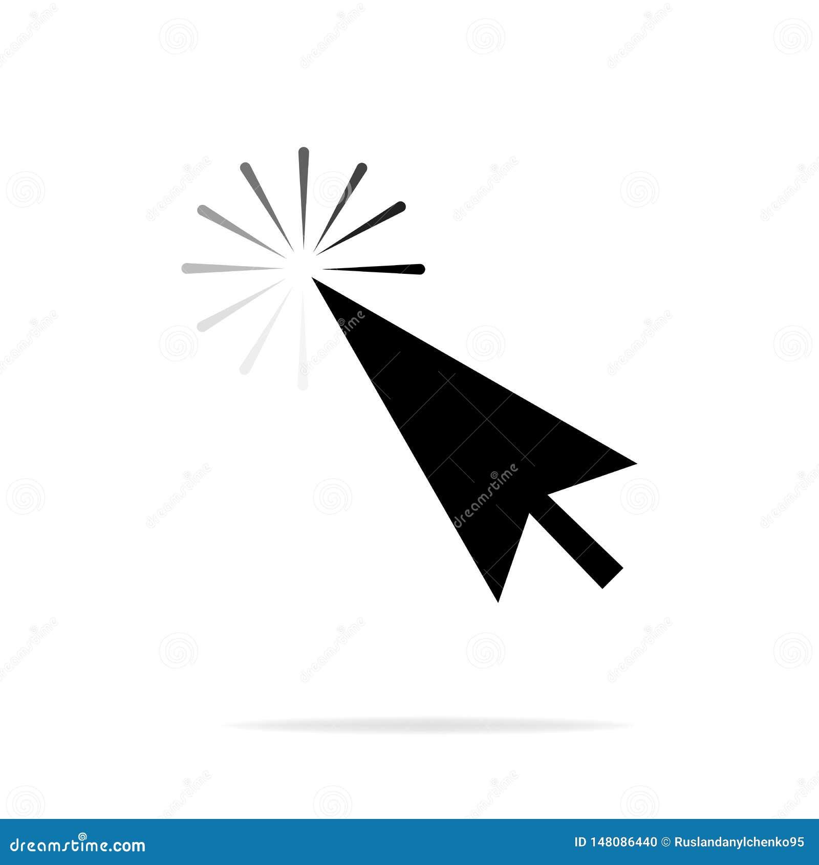 Icono gris de la flecha del cursor del clic del rat?n del ordenador En un fondo blanco con una reflexi?n de la sombra Ilustraci?n
