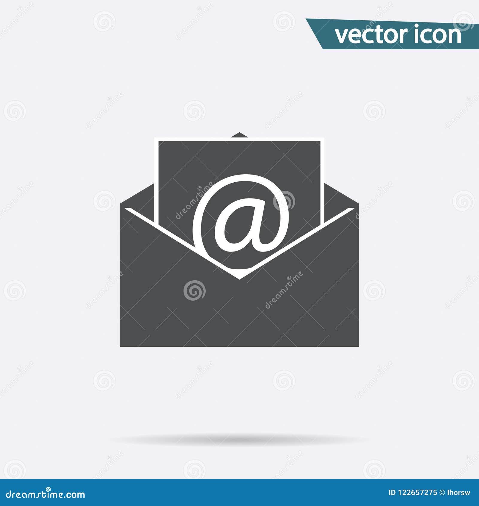 Icono gris del correo aislado en fondo Pictograma plano moderno, negocio, márketing, concepto de Internet