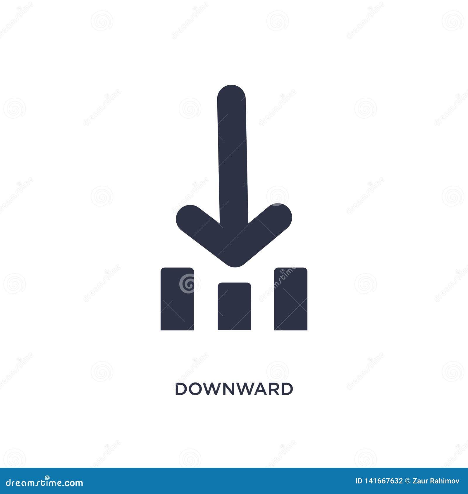 Icono hacia abajo en el fondo blanco Ejemplo simple del elemento del concepto de la orientación